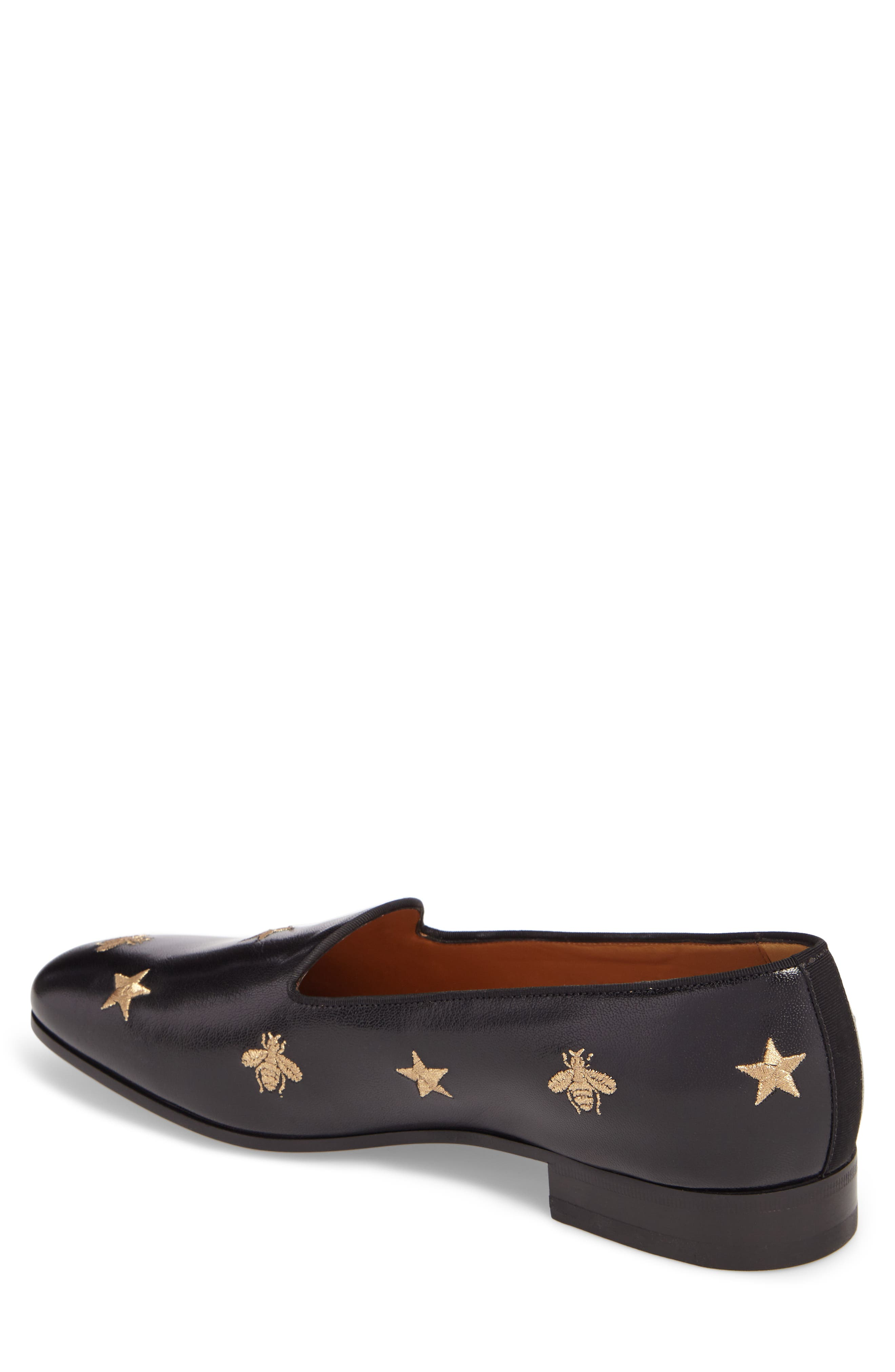 Embroidered Leather Loafer,                             Alternate thumbnail 2, color,                             001