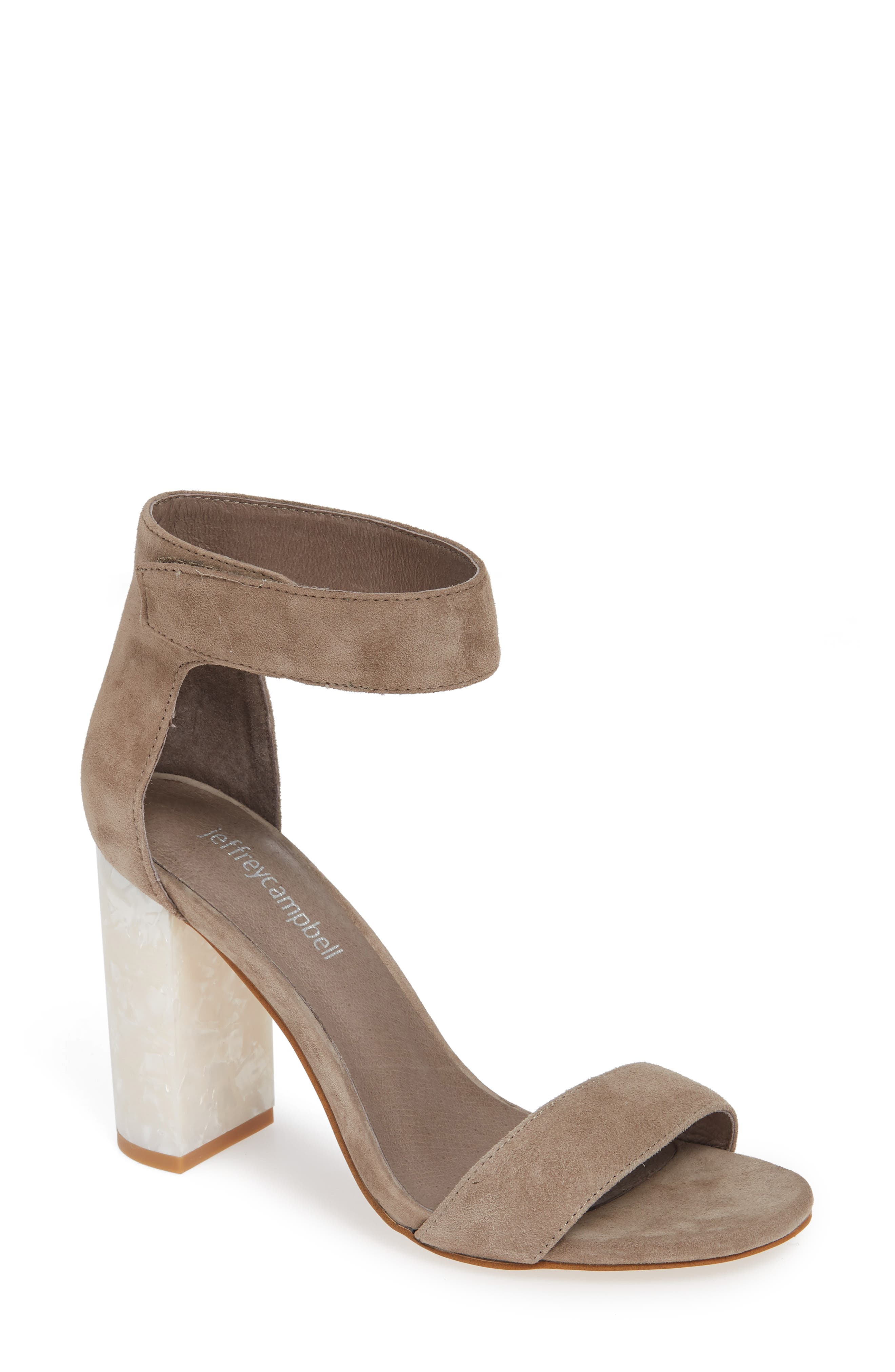 Lindsay Statement Heel Sandal,                             Main thumbnail 1, color,                             TAUPE SUEDE