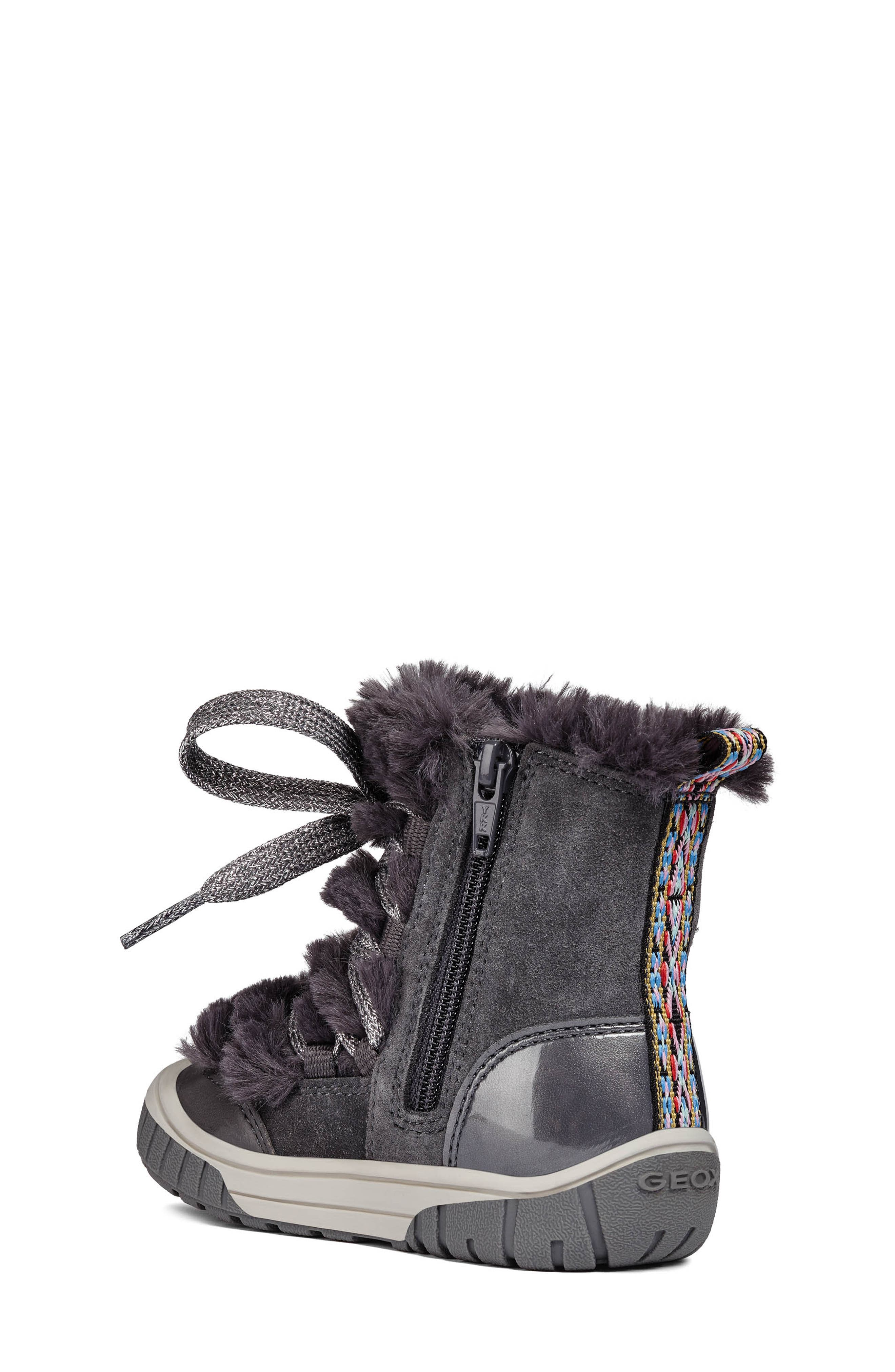Omar Lace Up Boot with Faux Fur Trim,                             Alternate thumbnail 2, color,                             DARK GREY