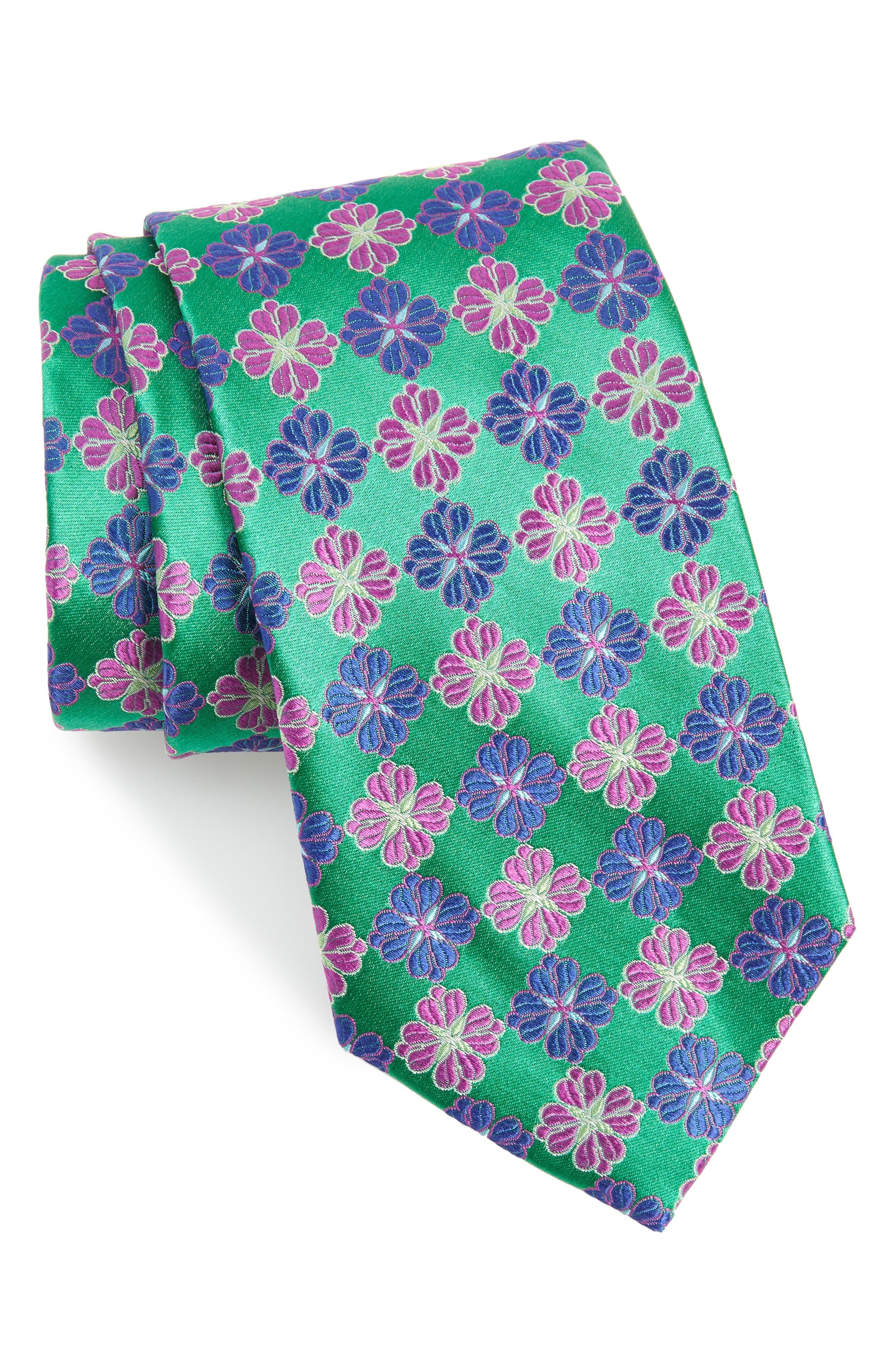 Cole Floral Silk X-Long Tie,                             Main thumbnail 1, color,                             OLIVE