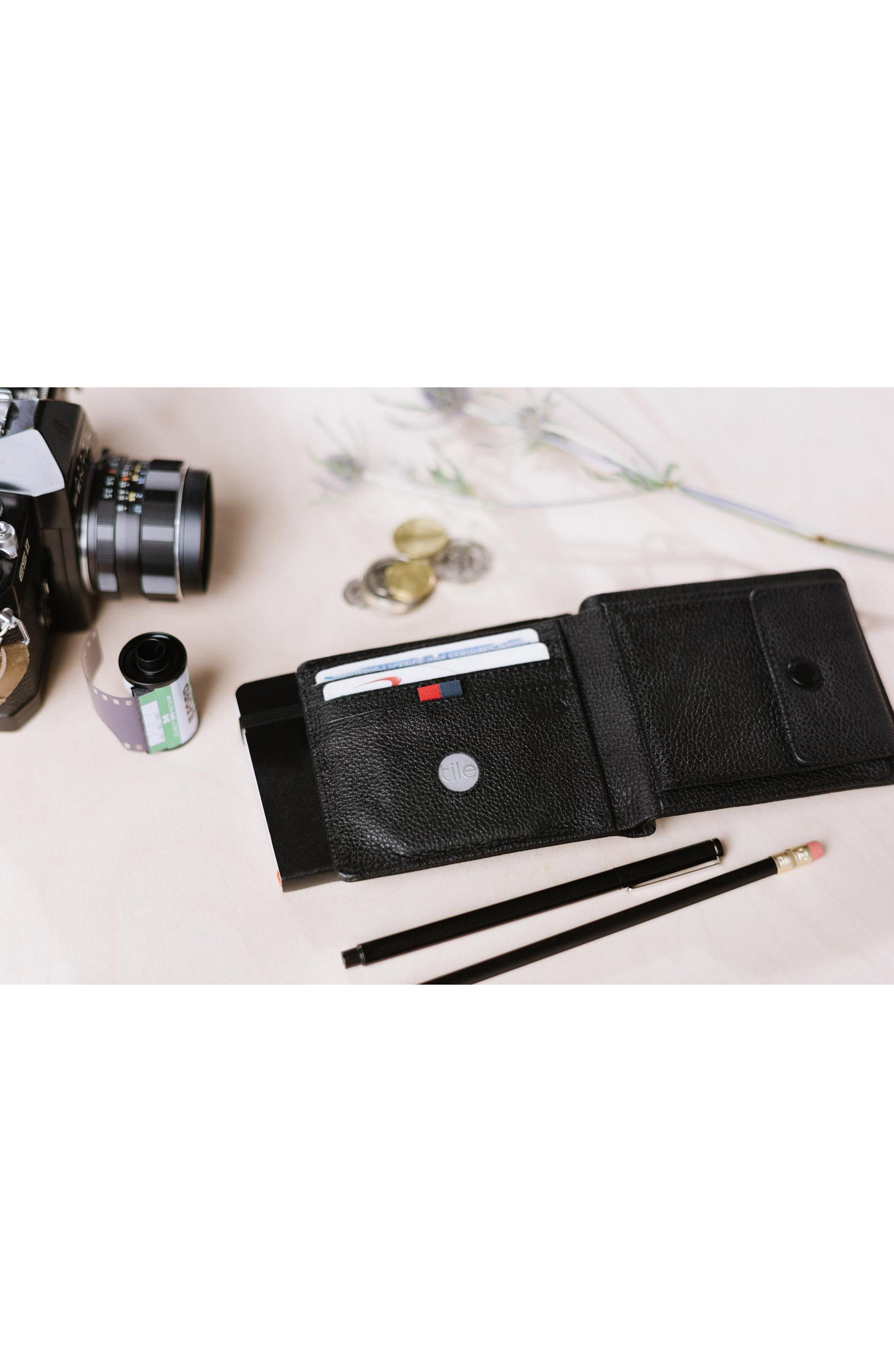 Tile Roy Leather Bifold Wallet,                             Alternate thumbnail 4, color,                             BLACK PEBBLED LEATHER