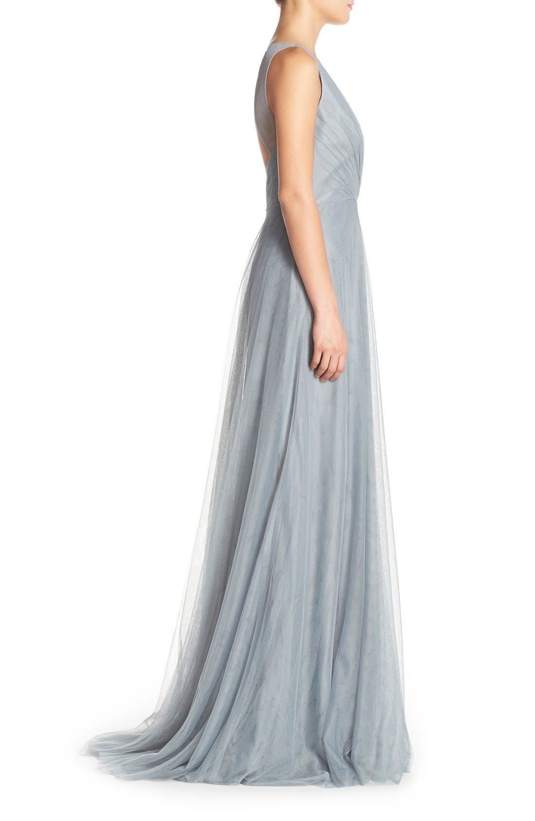 Back Cutout Pleat Tulle Gown,                             Alternate thumbnail 10, color,