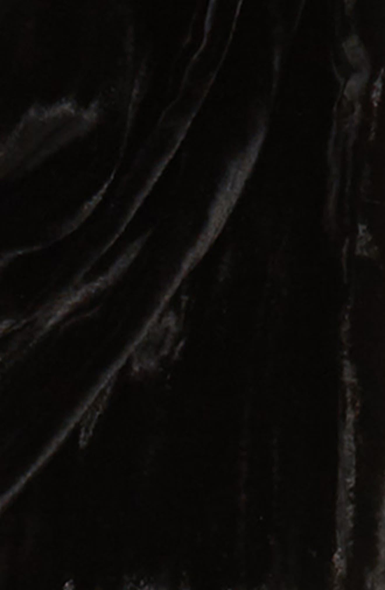 Chain Fringe Velvet Skinny Scarf,                             Alternate thumbnail 3, color,                             NOIR