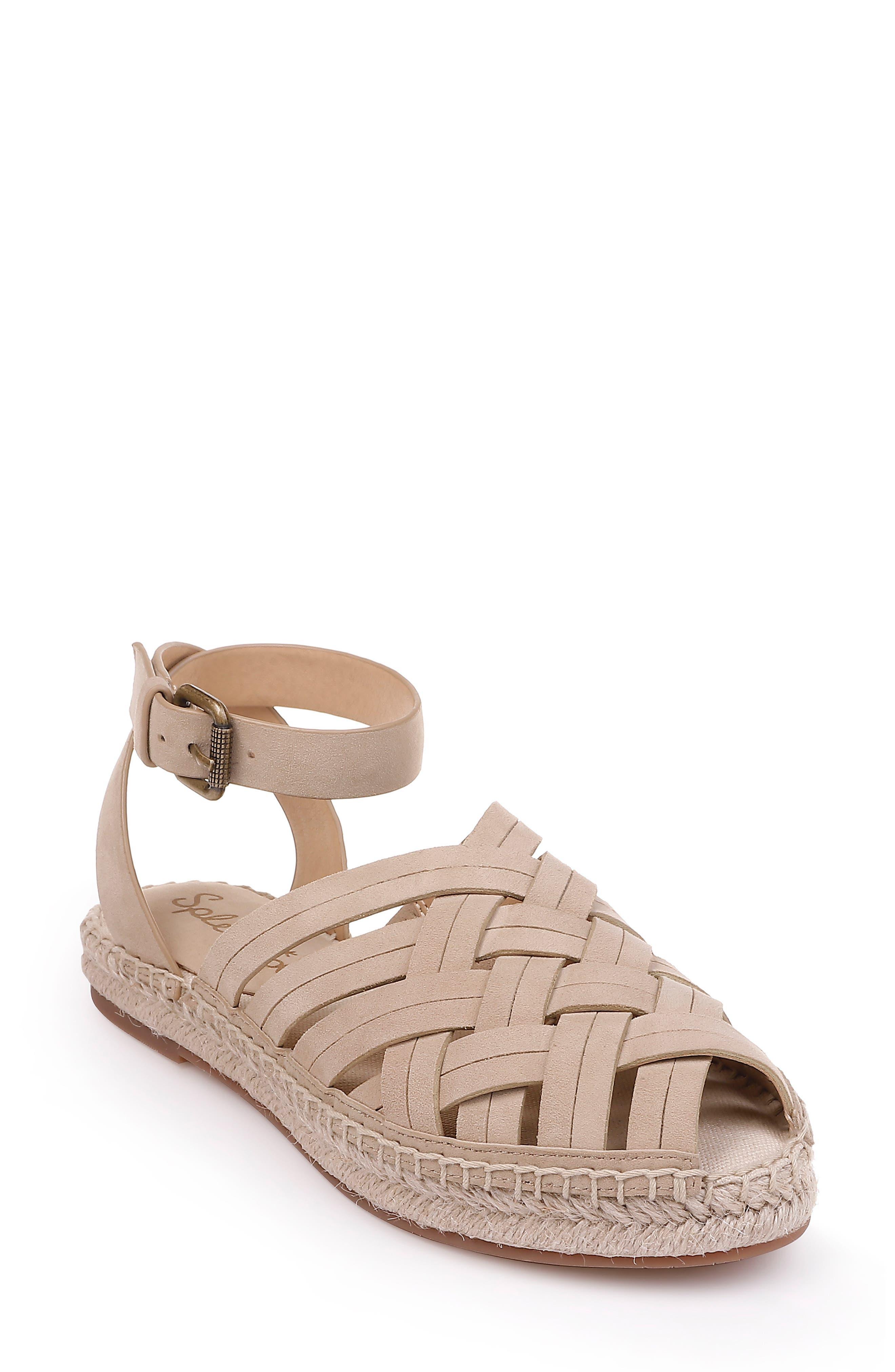 Sheryl Espadrille Ankle Strap Sandal,                             Main thumbnail 1, color,                             MUSHROOM SUEDE