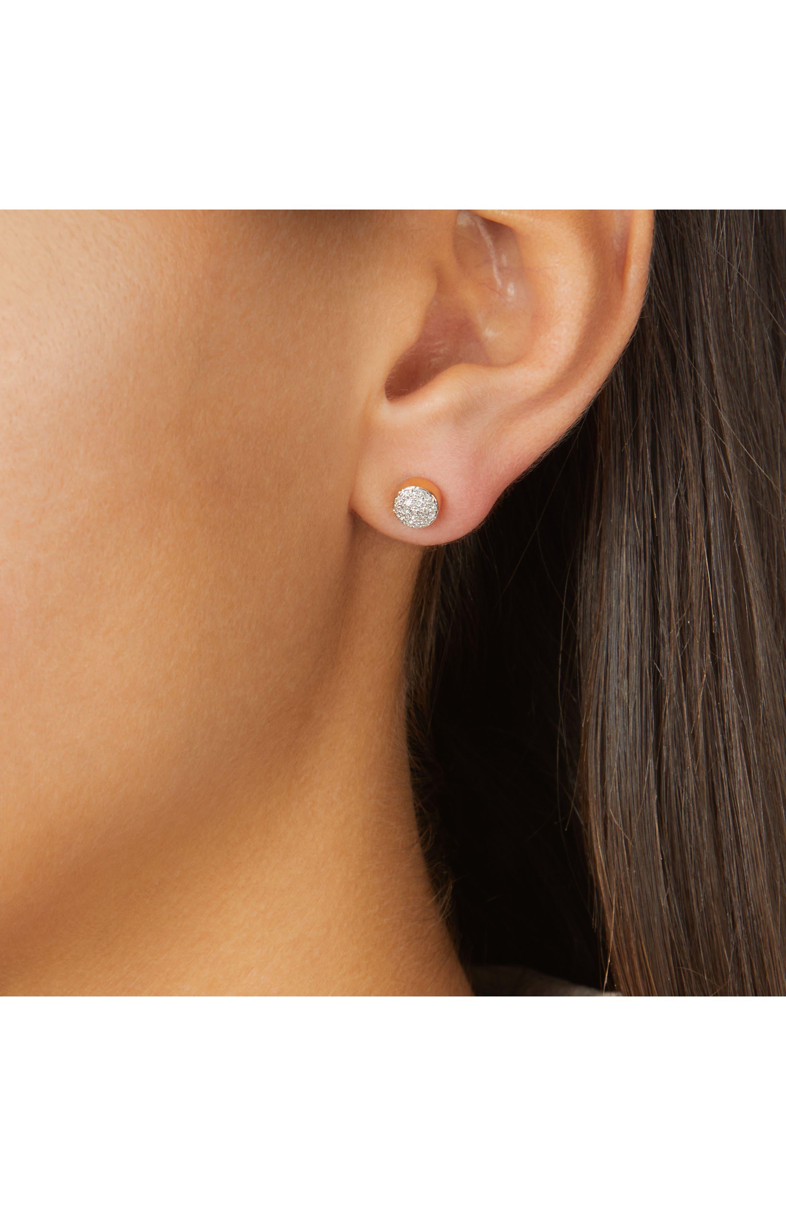 MONICA VINADER,                             Fiji Mini Diamond Button Stud Earrings,                             Alternate thumbnail 2, color,                             GOLD