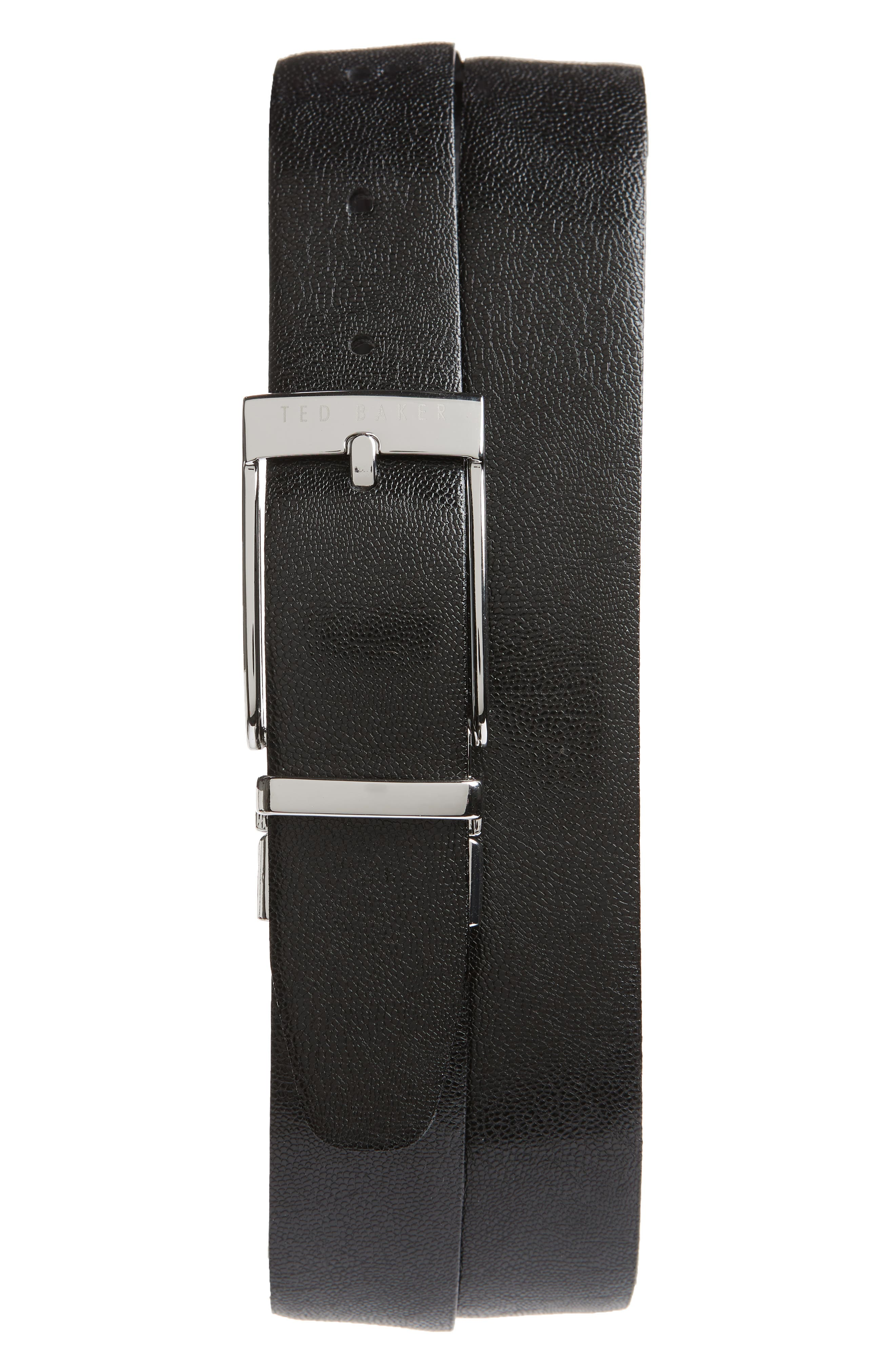 Reversible Leather Belt,                             Alternate thumbnail 2, color,                             BLACK