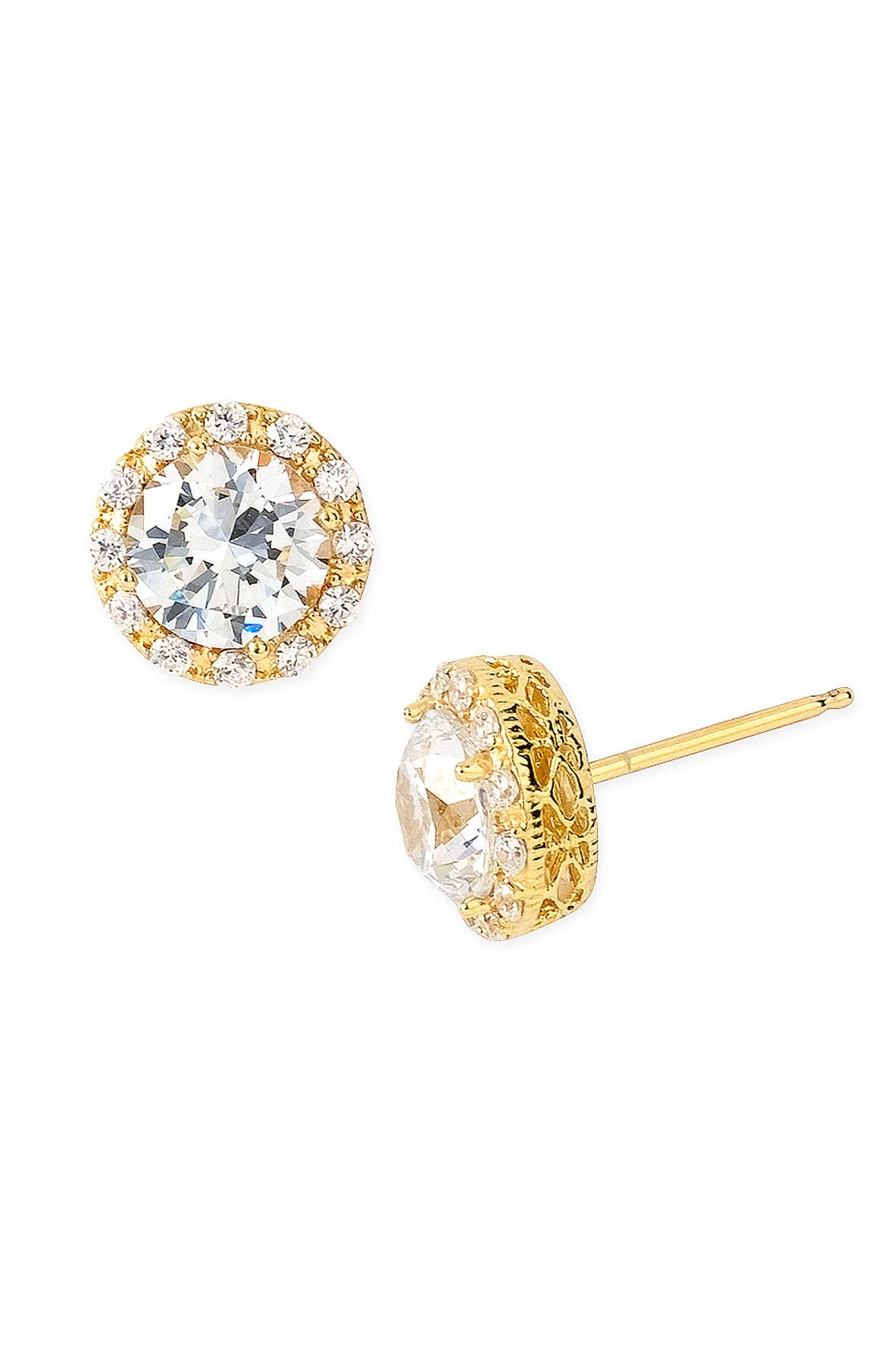 Pavé Round Stud Earrings,                             Alternate thumbnail 7, color,                             GOLD