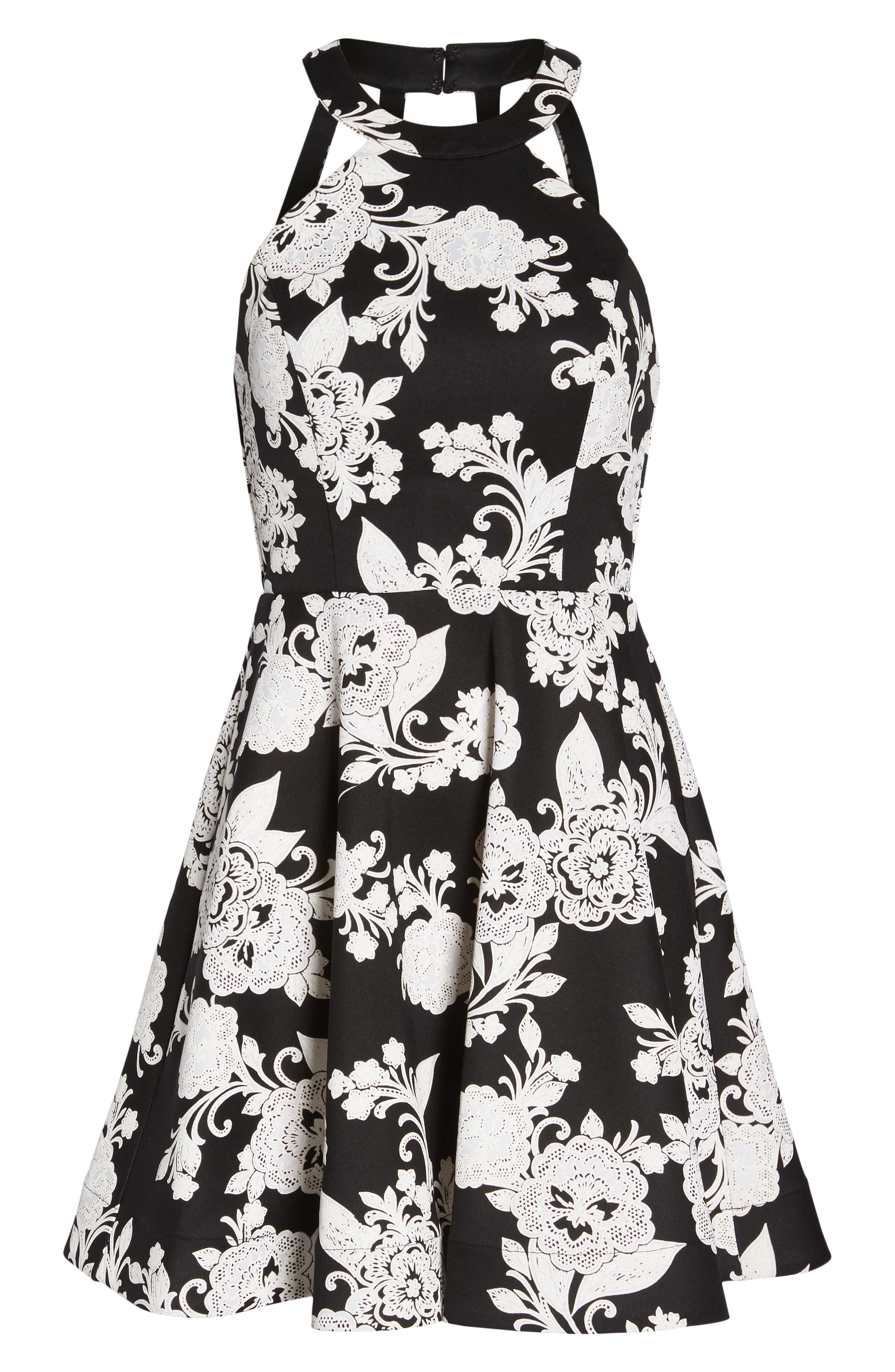 Strappy Back Scuba Halter Dress,                             Alternate thumbnail 7, color,                             BLACK/ CREAM