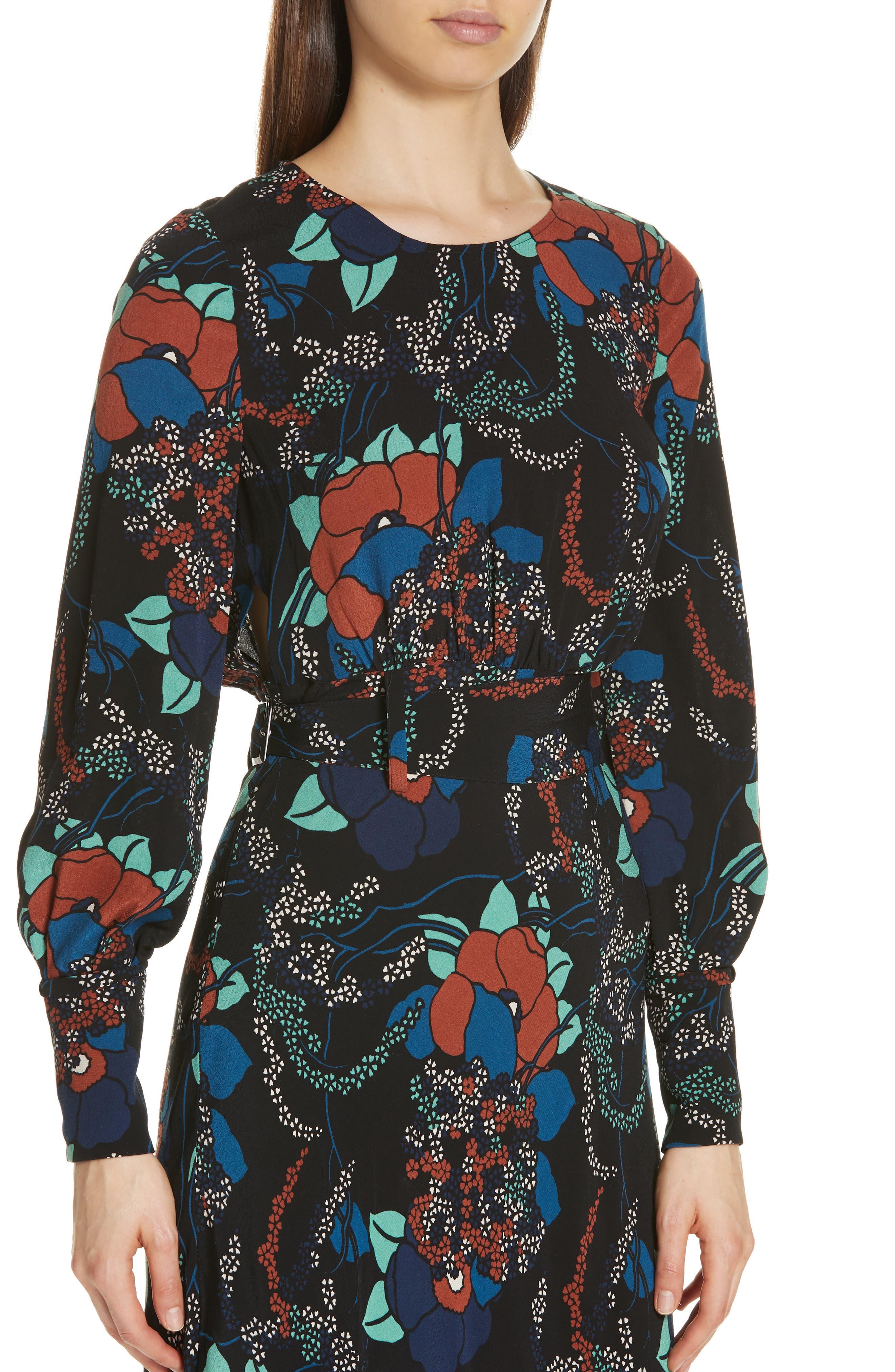 Abelia Floral Plunge Back Silk Dress,                             Alternate thumbnail 4, color,                             NOIR