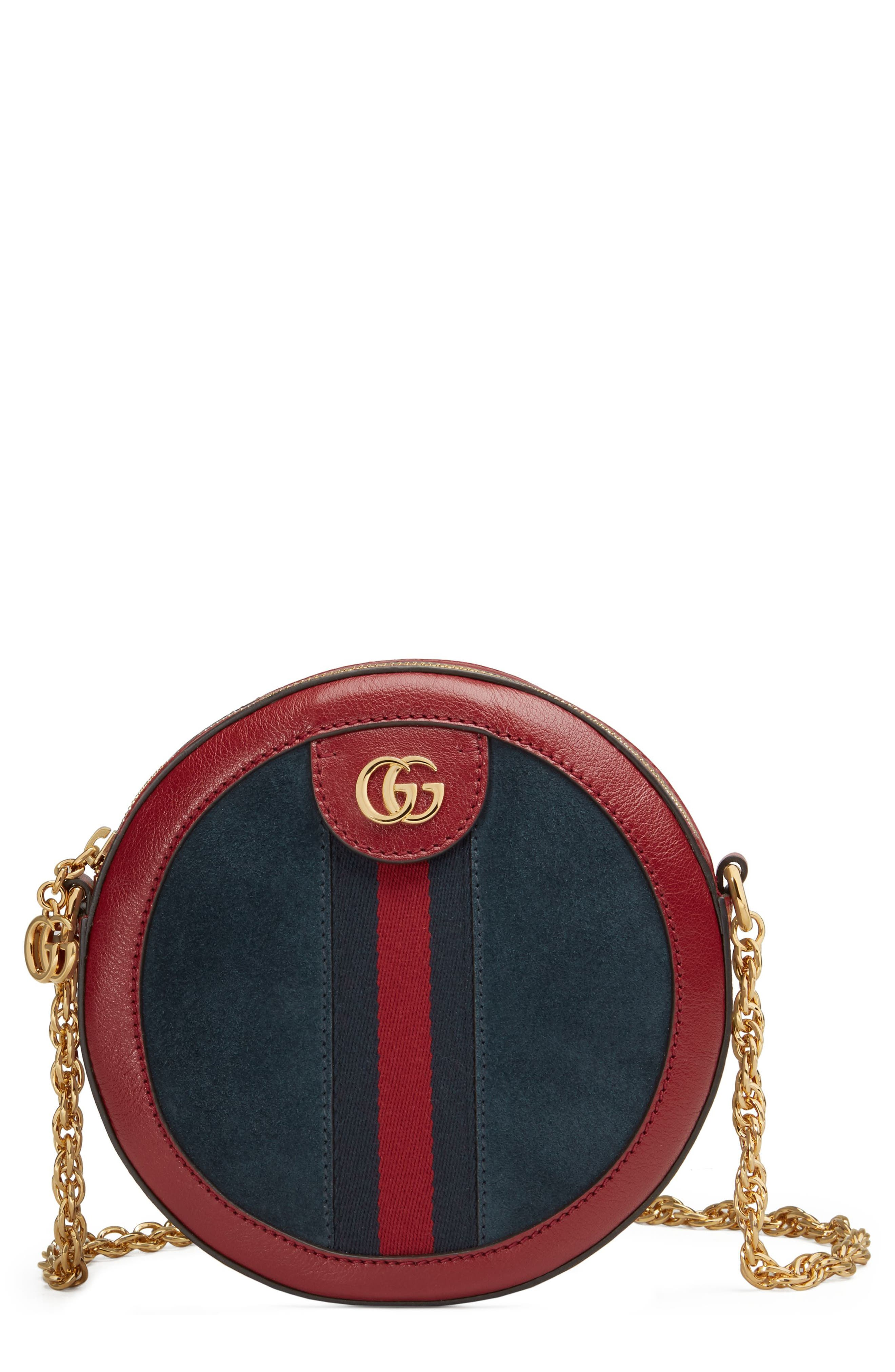 Ophidia Small Suede & Leather Circle Crossbody Bag,                             Main thumbnail 1, color,                             NEW BLU/ ROMANTIC CERISE