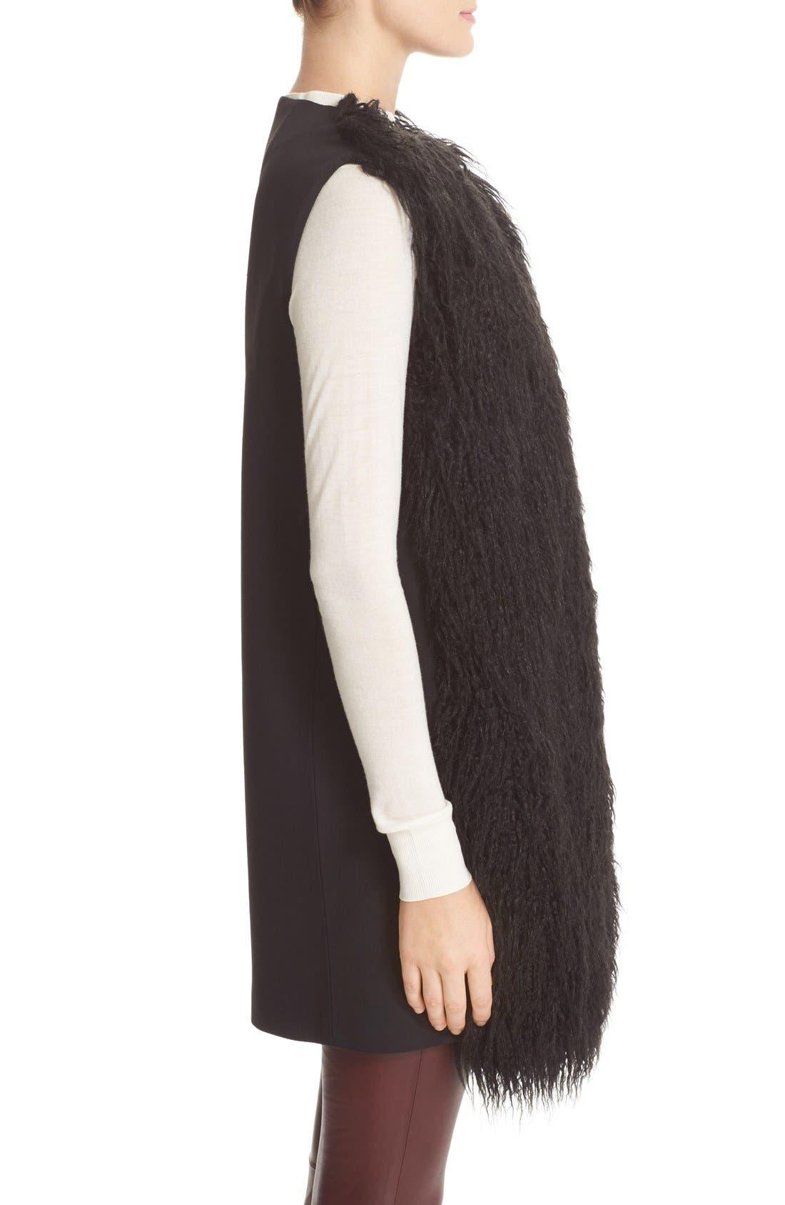 Nyma V Cody Shaggy Faux Fur Front Long Vest,                             Alternate thumbnail 4, color,                             001
