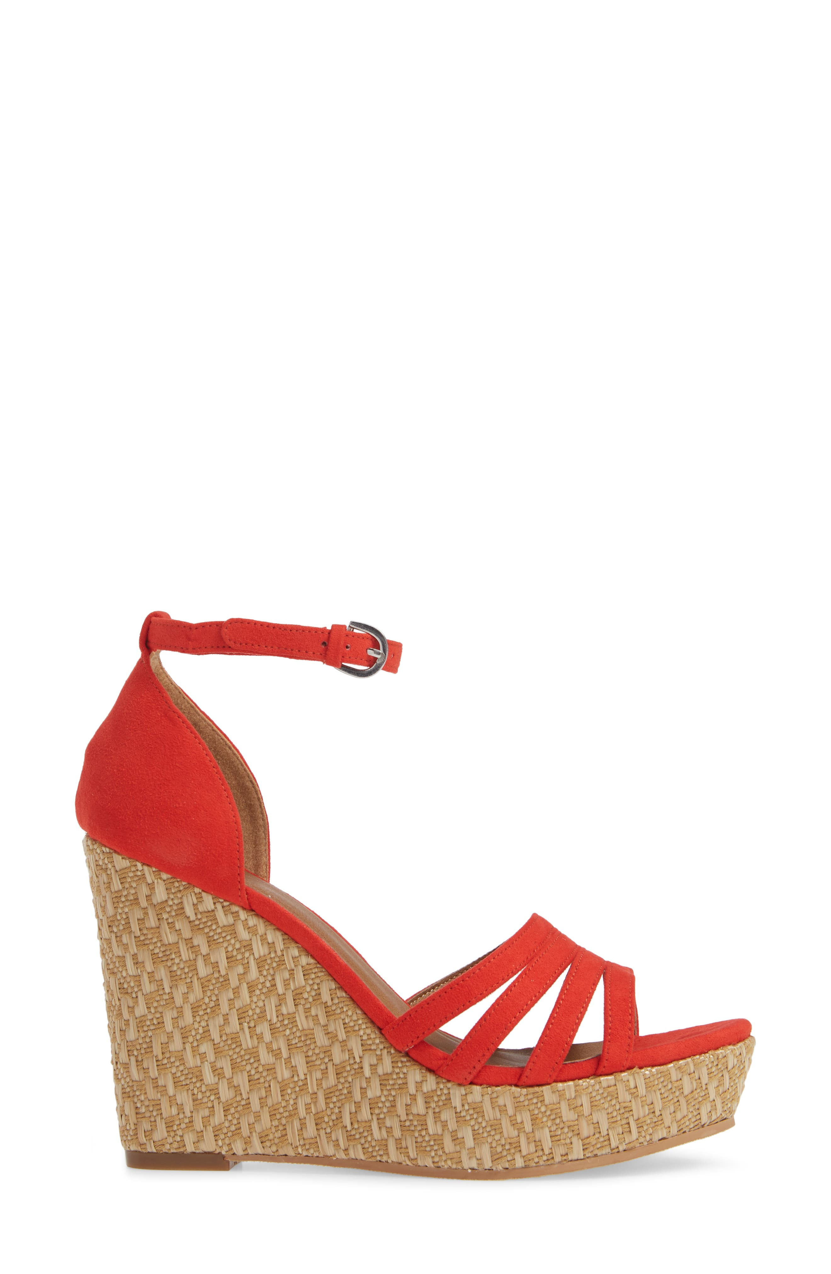 Scarlette Wedge Sandal,                             Alternate thumbnail 3, color,                             RED FAUX SUEDE