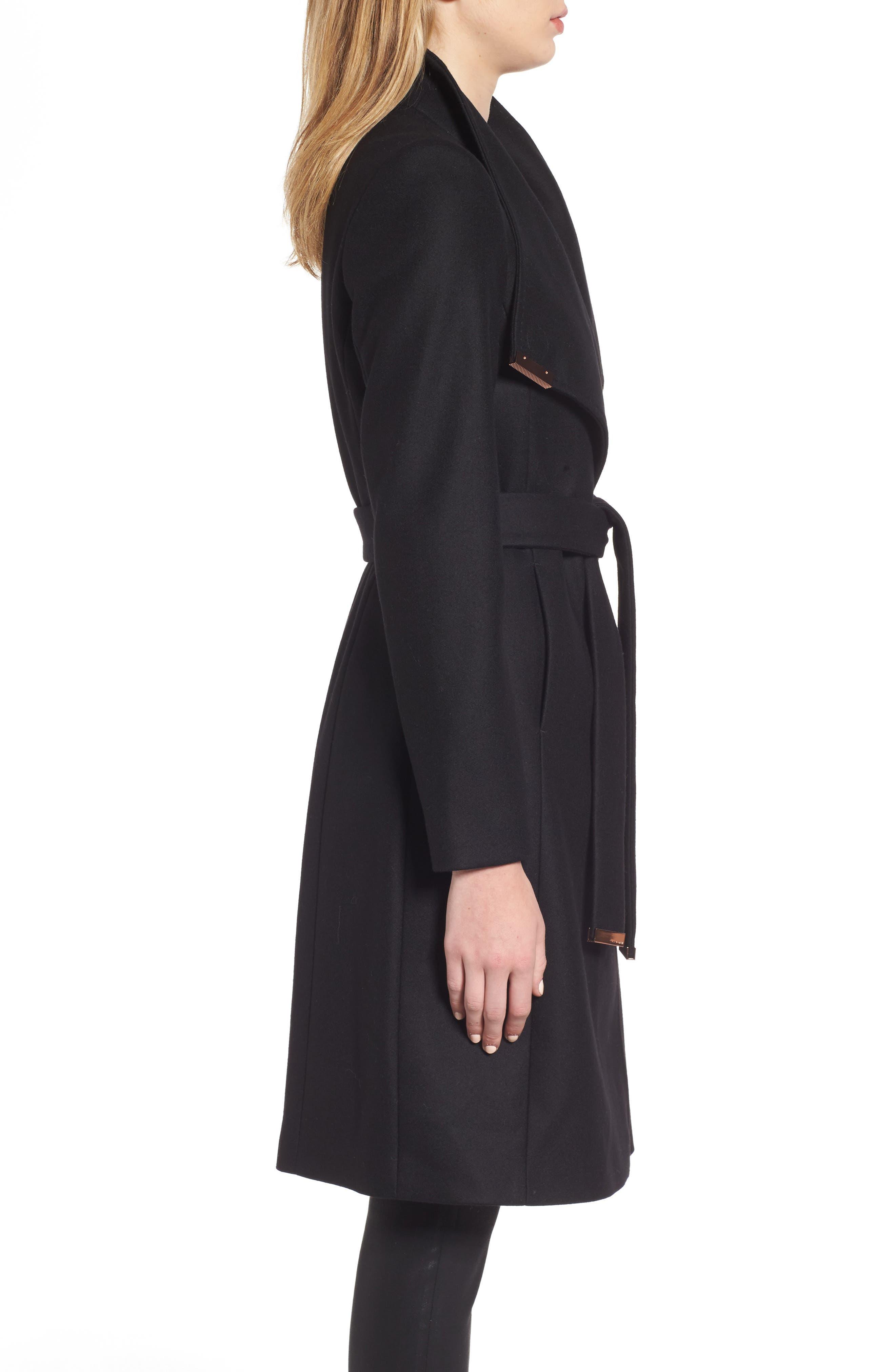 Wool Blend Long Wrap Coat,                             Alternate thumbnail 3, color,                             BLACK
