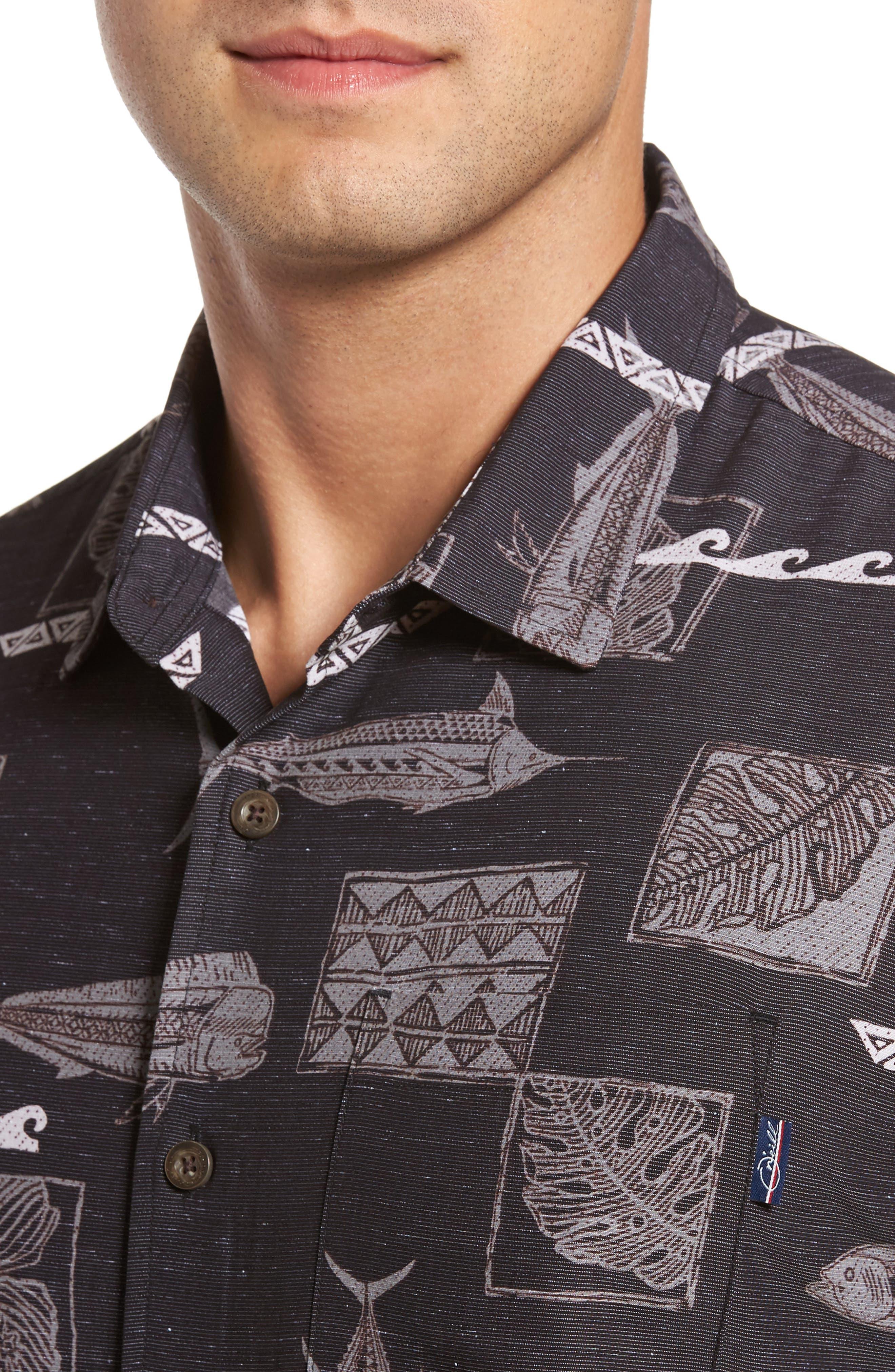 Kua Bay Print Sport Shirt,                             Alternate thumbnail 4, color,                             001