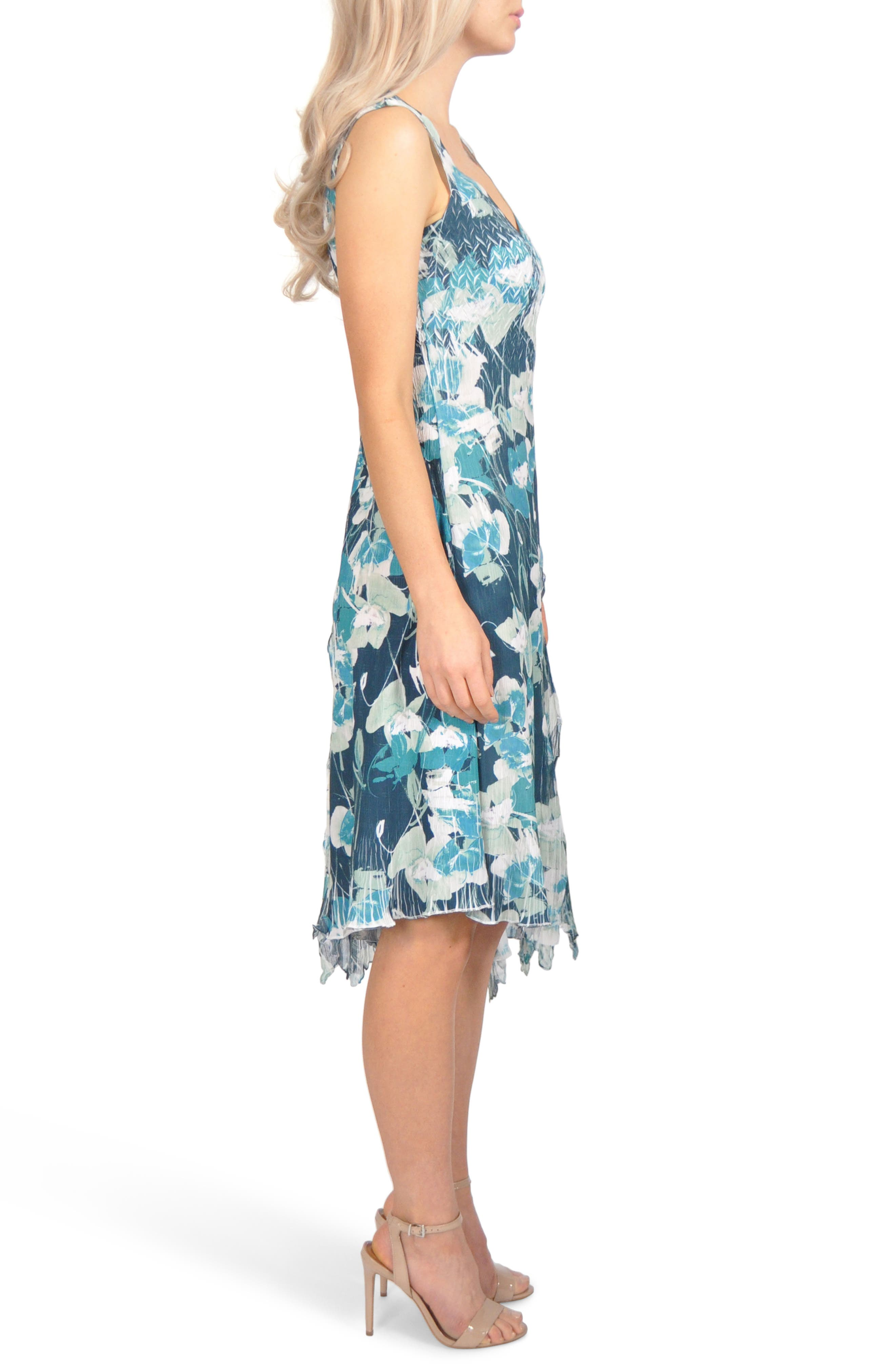 Floral Asymmetric Chiffon Dress,                             Alternate thumbnail 3, color,                             439