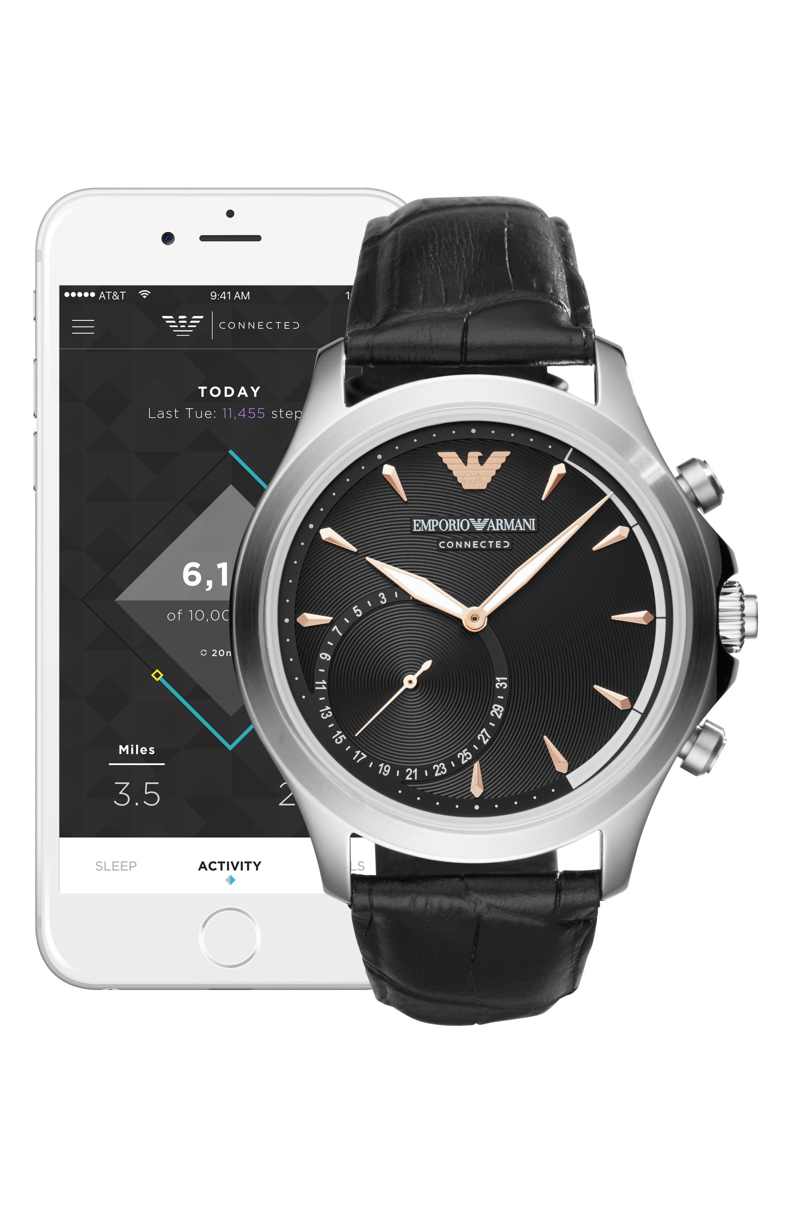 EMPORIO ARMANI,                             Leather Strap Hybrid Smartwatch, 43mm,                             Alternate thumbnail 4, color,                             001