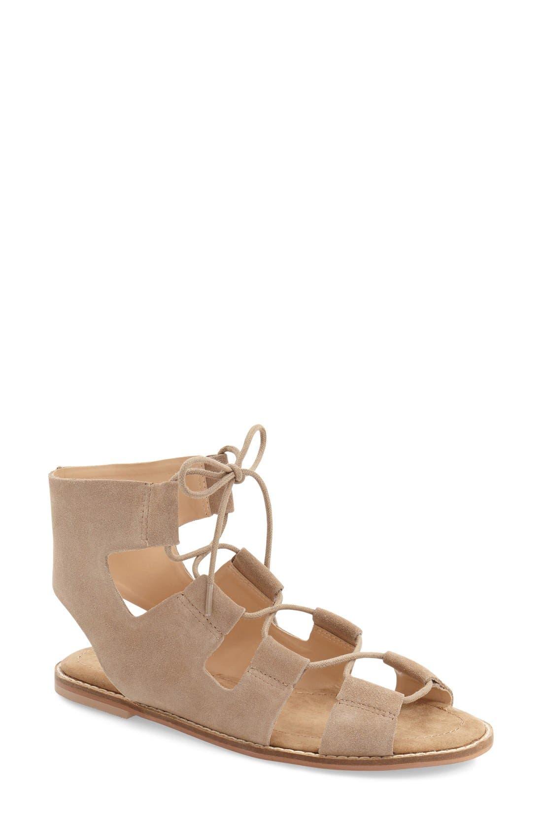 'Cady' Lace-Up Flat Sandal,                             Main thumbnail 2, color,