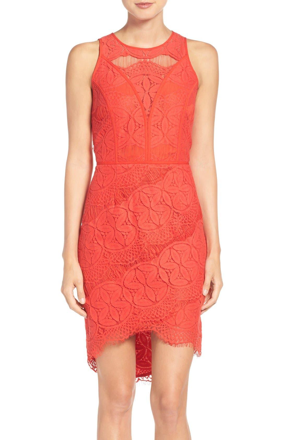 Lace High/Low Sheath Dress,                             Main thumbnail 8, color,