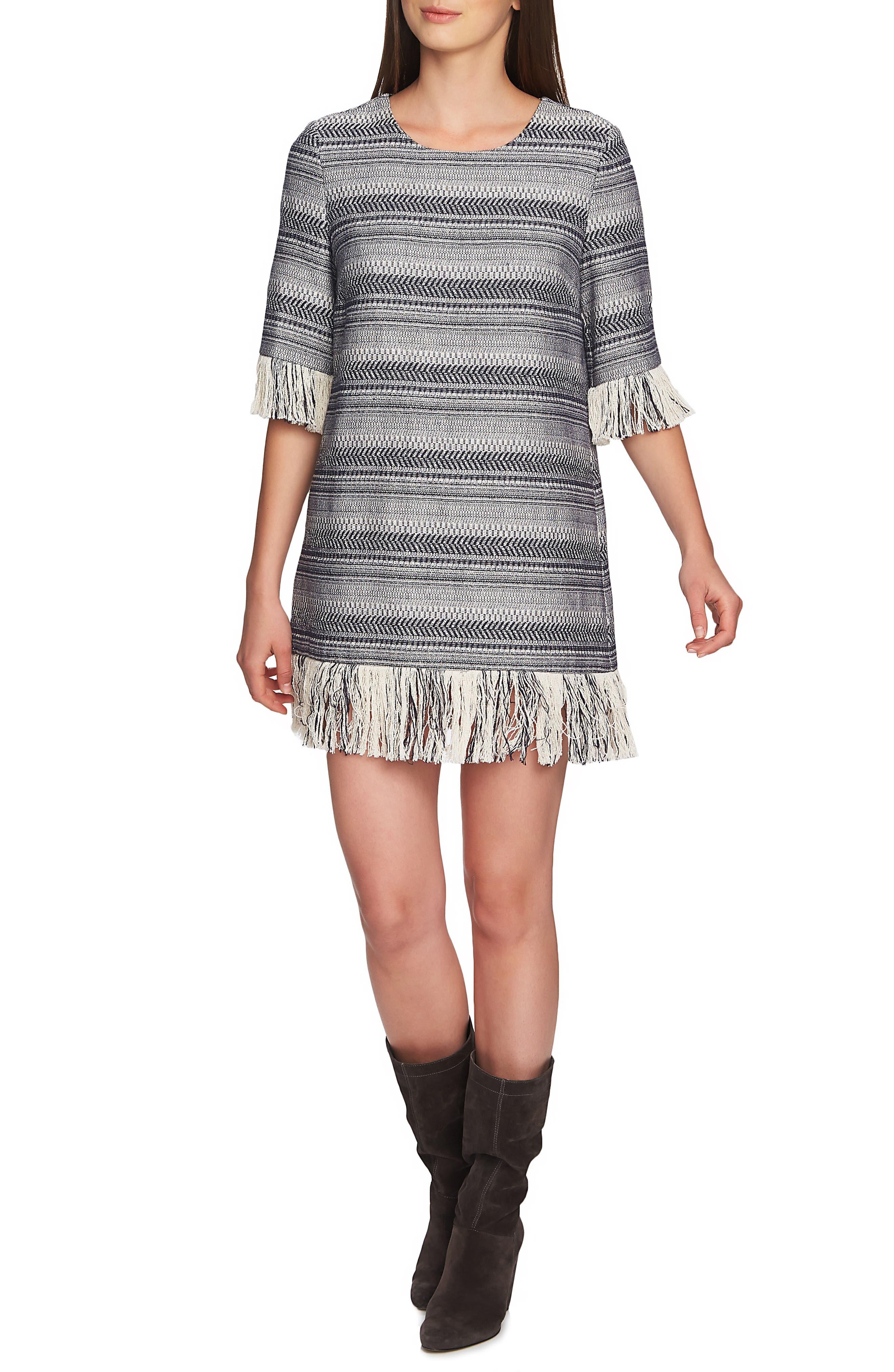 1.state Rustic Tweed Fringe Hem Dress, Blue