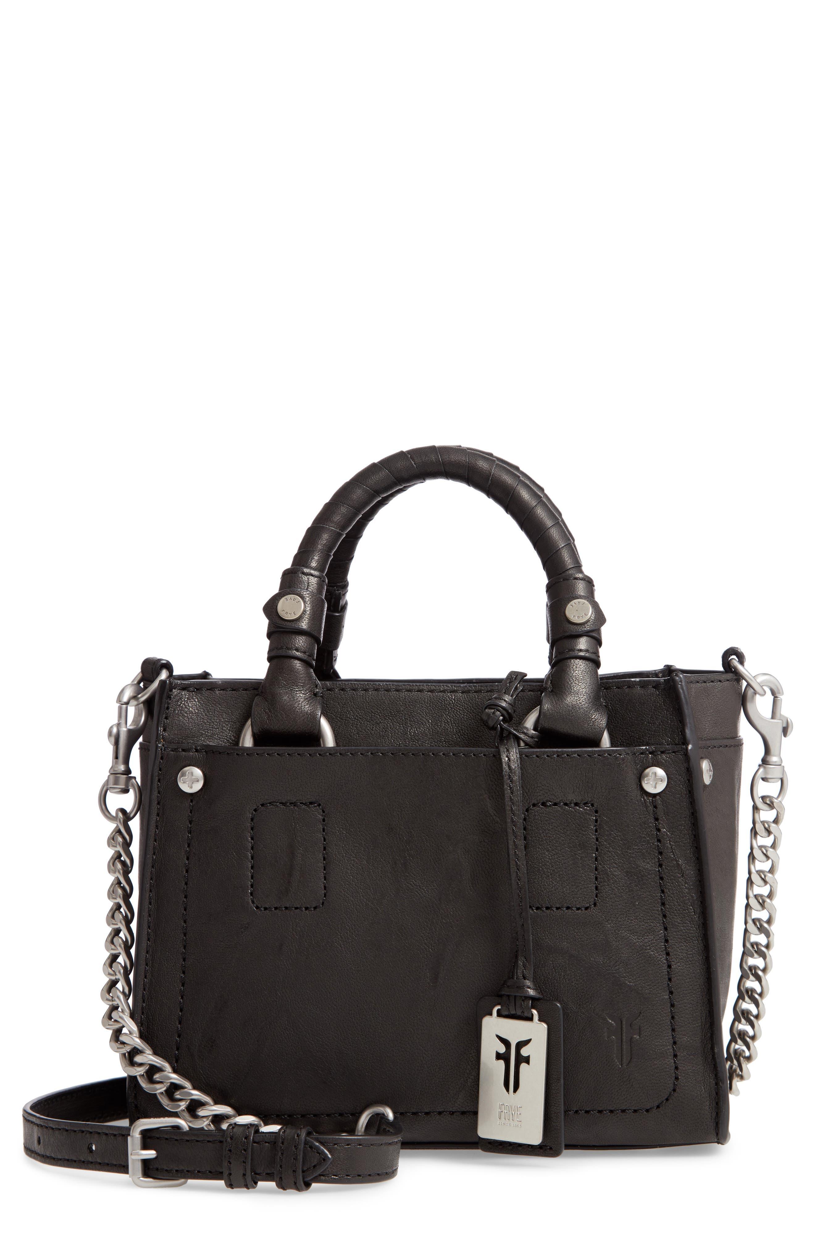 Mini Demi Leather Satchel,                             Main thumbnail 1, color,                             BLACK