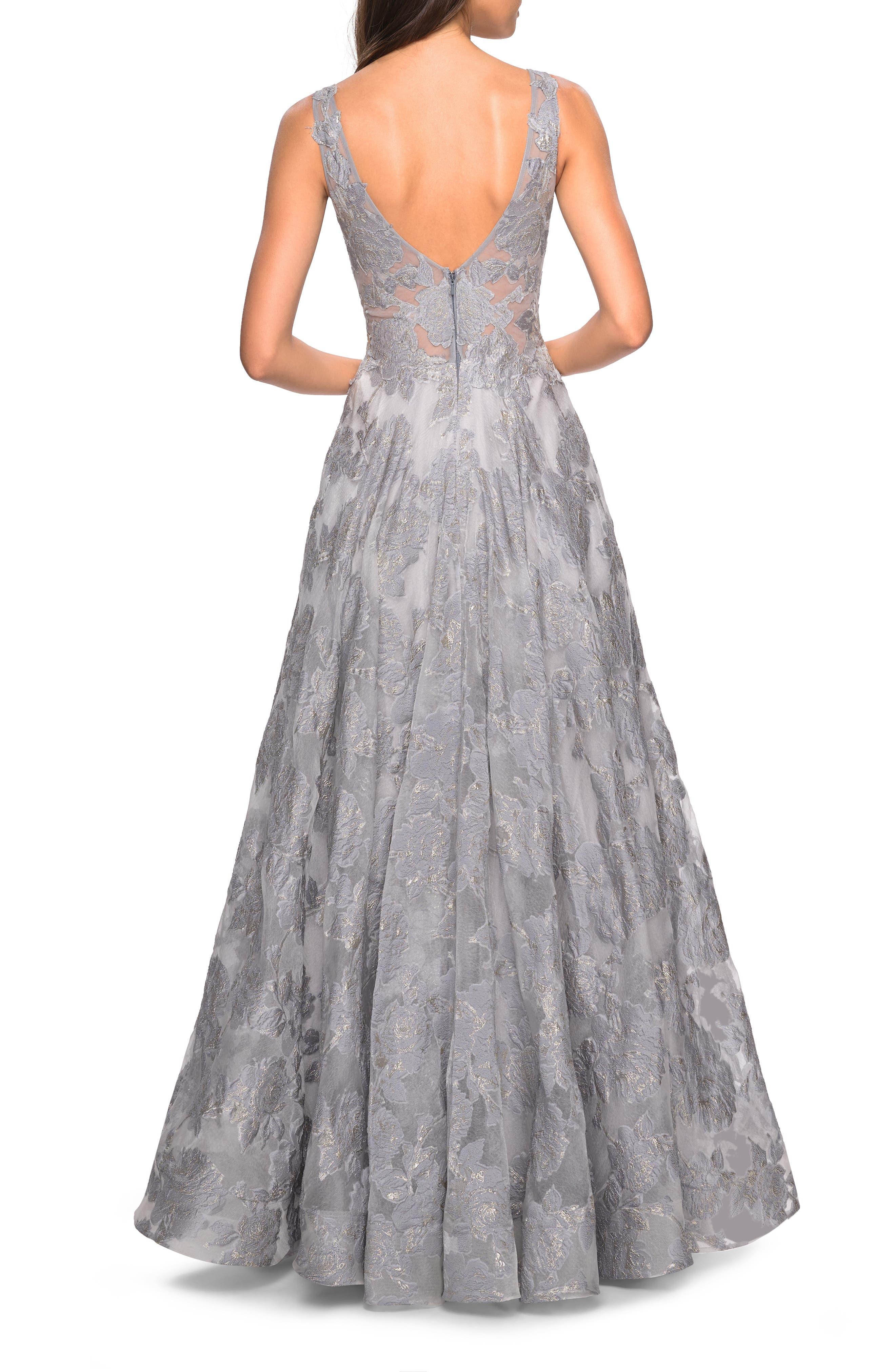 LA FEMME,                             Lace A-Line Evening Dress,                             Alternate thumbnail 2, color,                             SILVER