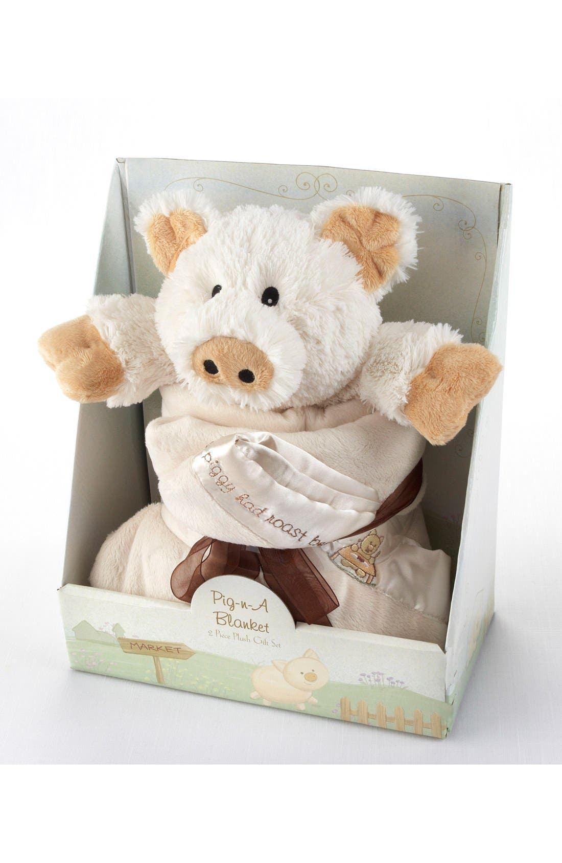 Pig Stuffed Animal & Blanket Set,                             Alternate thumbnail 3, color,                             CREAM