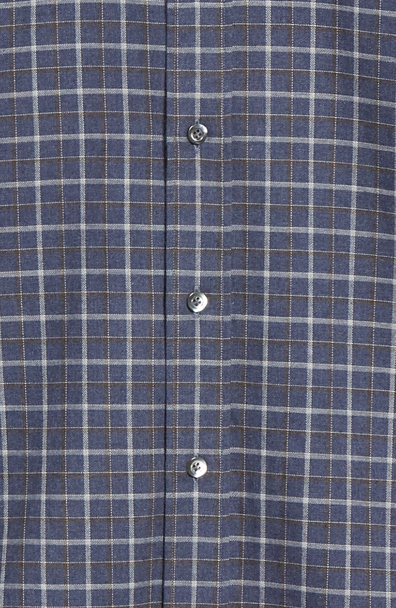 Slim Fit Check Dress Shirt,                             Alternate thumbnail 6, color,                             NAVY