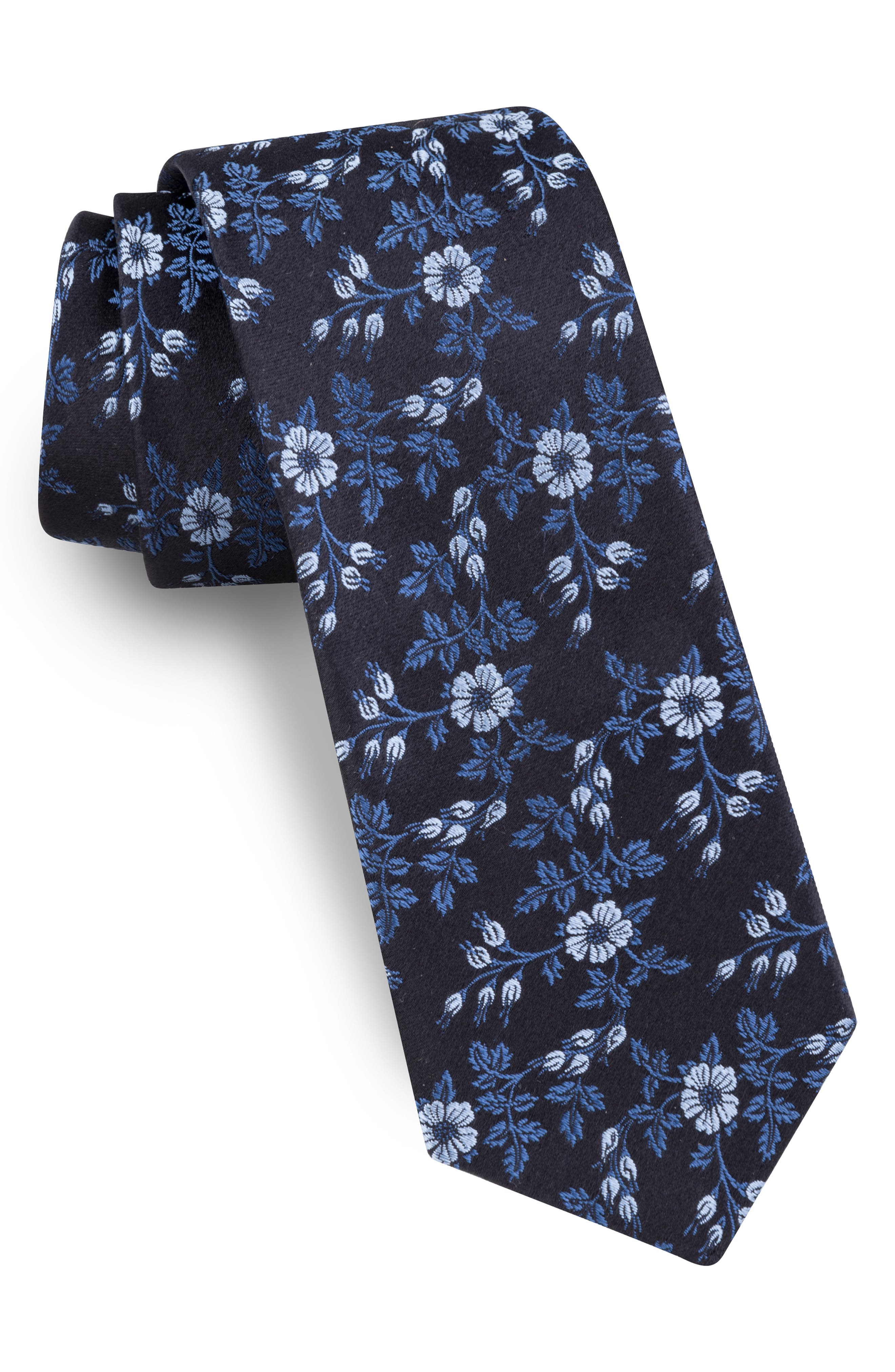 Vine Floral Silk Tie,                         Main,                         color, BLUE