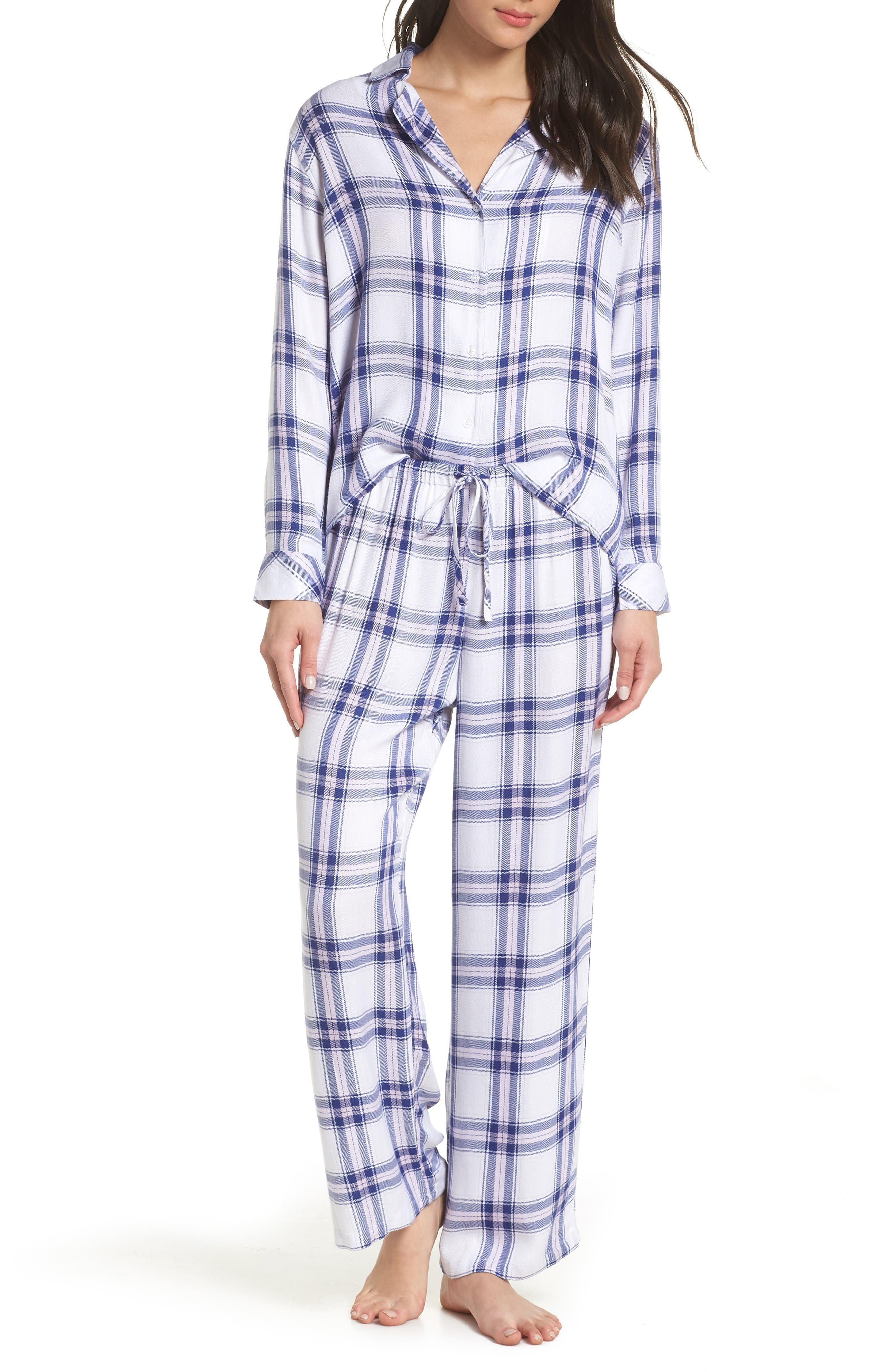 Plaid Pajamas,                             Main thumbnail 1, color,                             WHITE SAPPHIRE LILAC