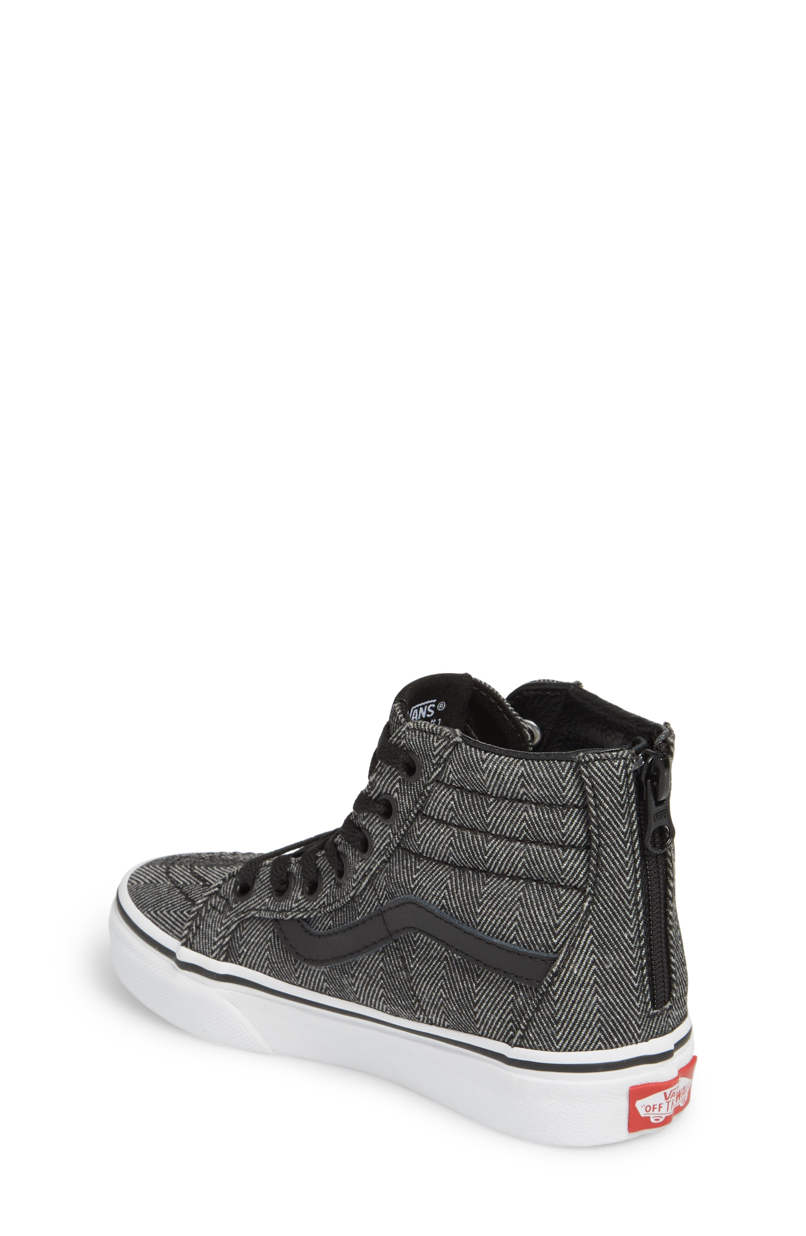 'Sk8-Hi' Sneaker,                             Alternate thumbnail 2, color,                             HERRINGBONE BLACK/ TRUE WHITE