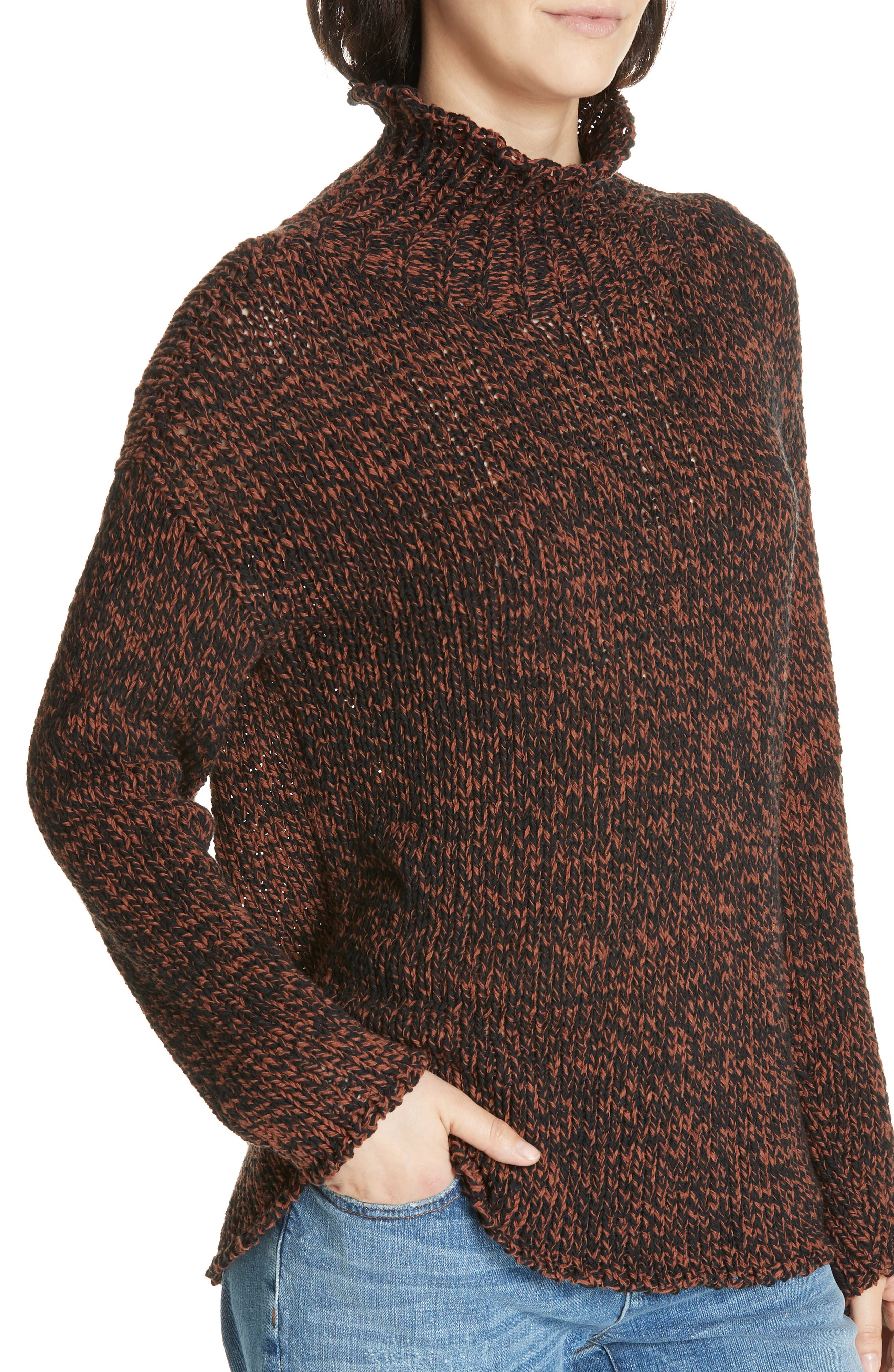 Marled Organic Cotton Blend Sweater,                             Alternate thumbnail 4, color,                             NUTMEG