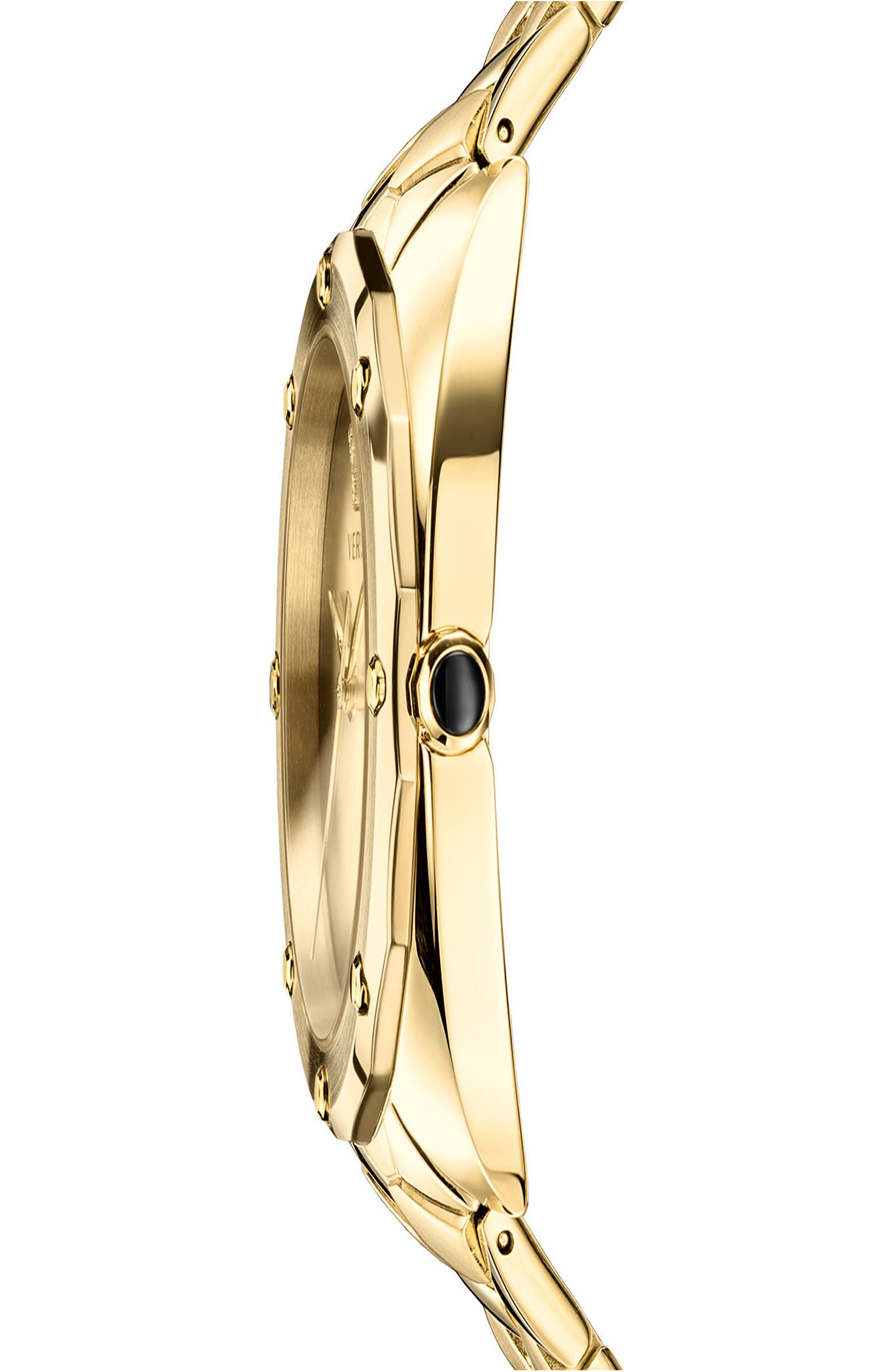 VERSACE,                             Shadov Bracelet Watch, 38mm,                             Alternate thumbnail 3, color,                             GOLD