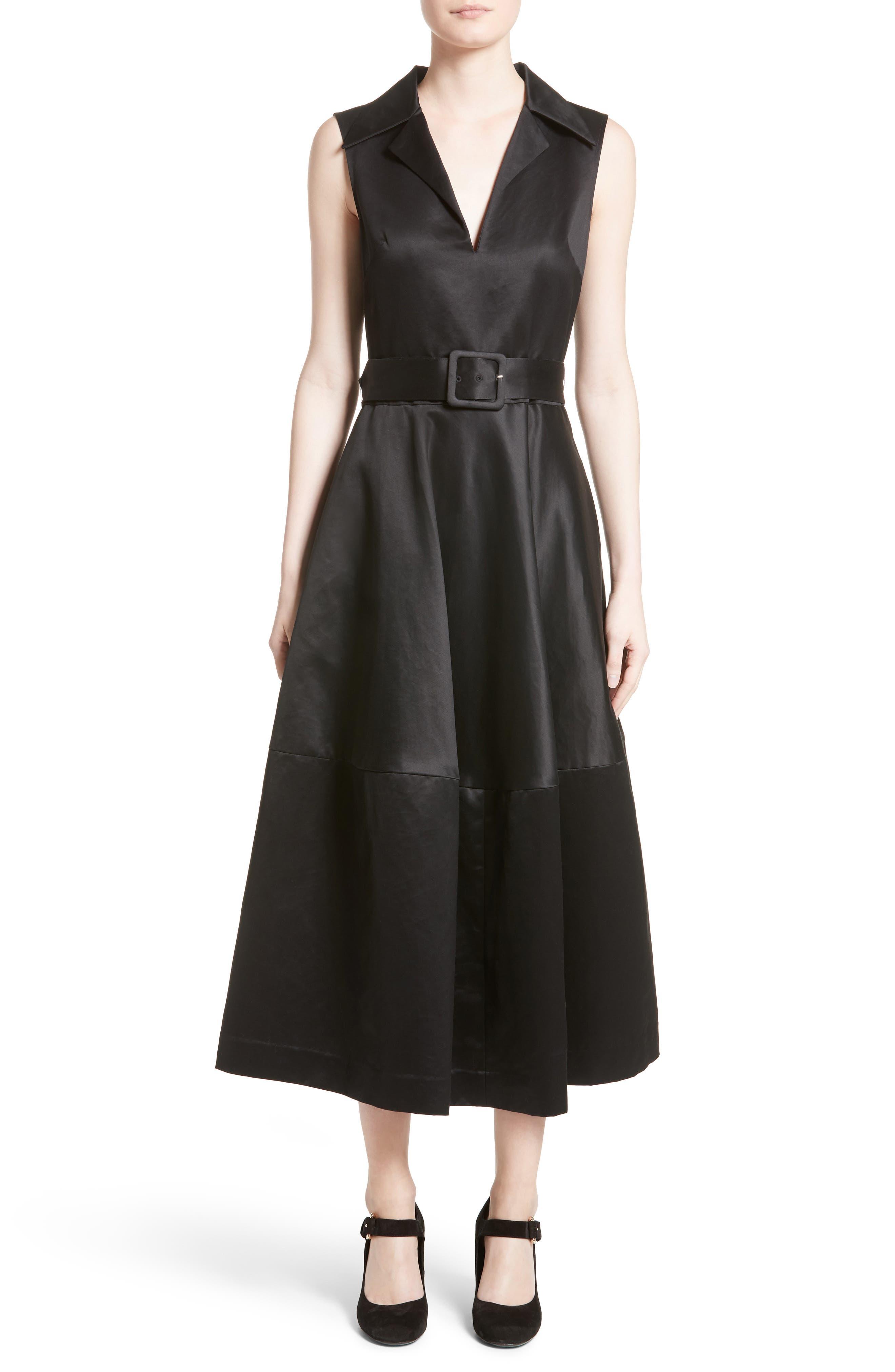 Cotton Sateen A-Line Dress,                             Main thumbnail 1, color,                             001