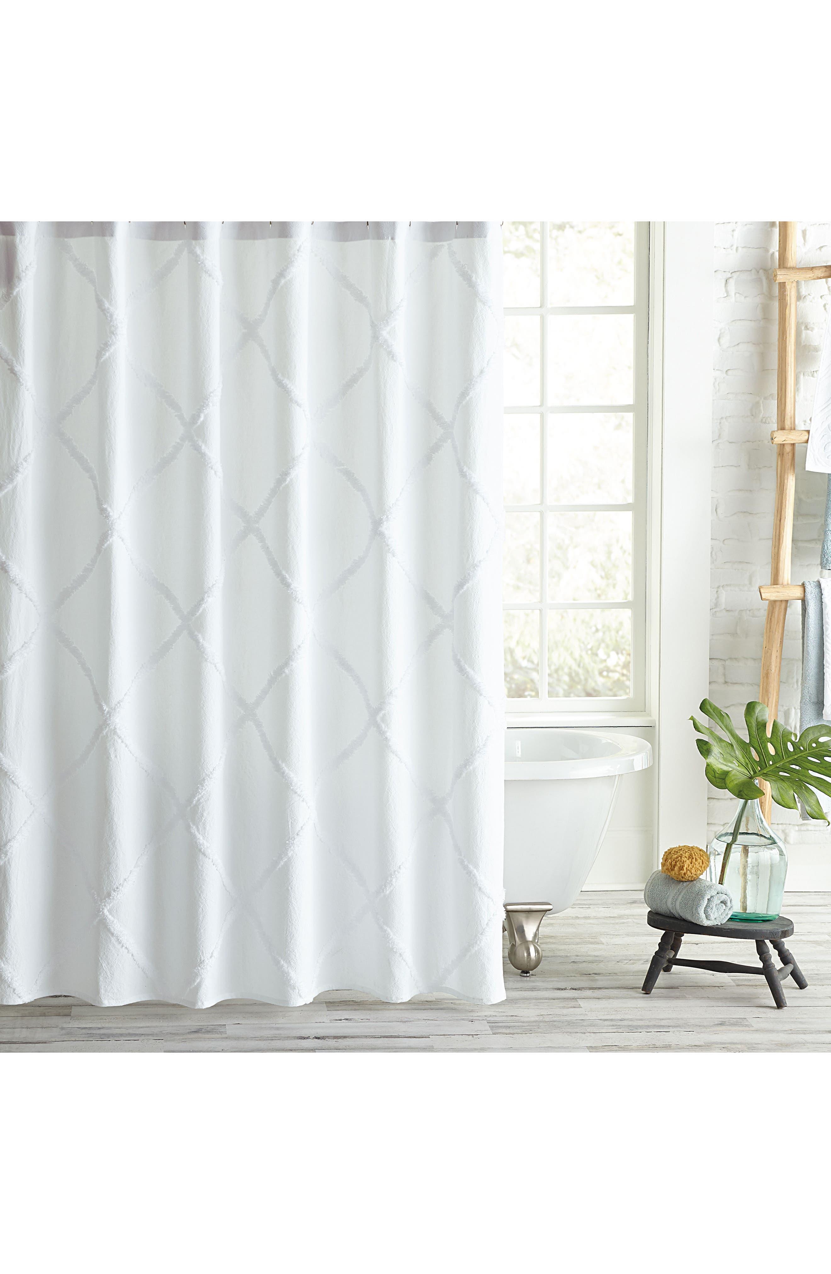 Peri Home Chenille Lattice Shower Curtain Size One Size  White