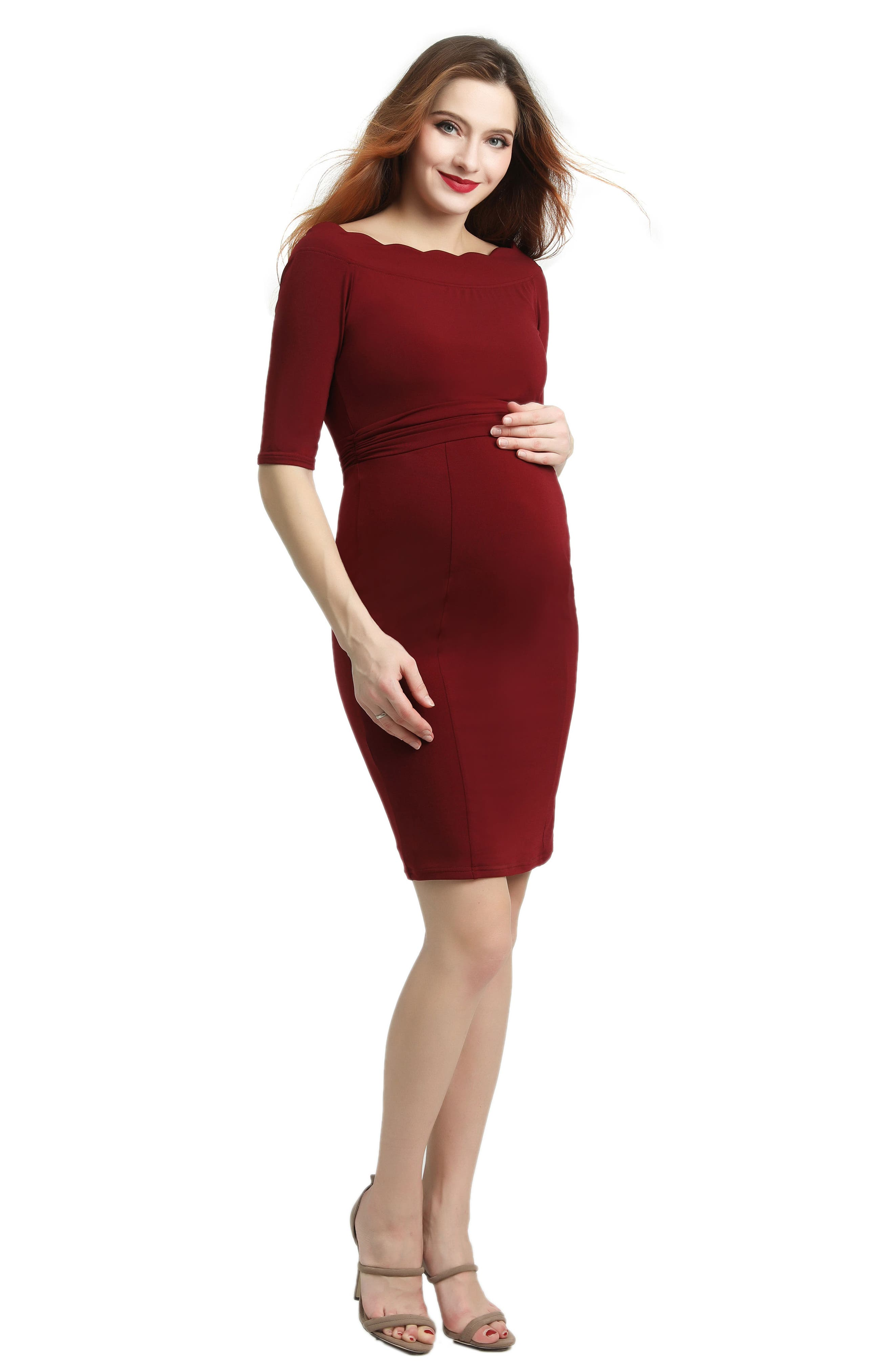 Kendall Scallop Trim Body-Con Maternity Dress,                             Alternate thumbnail 4, color,                             WINE