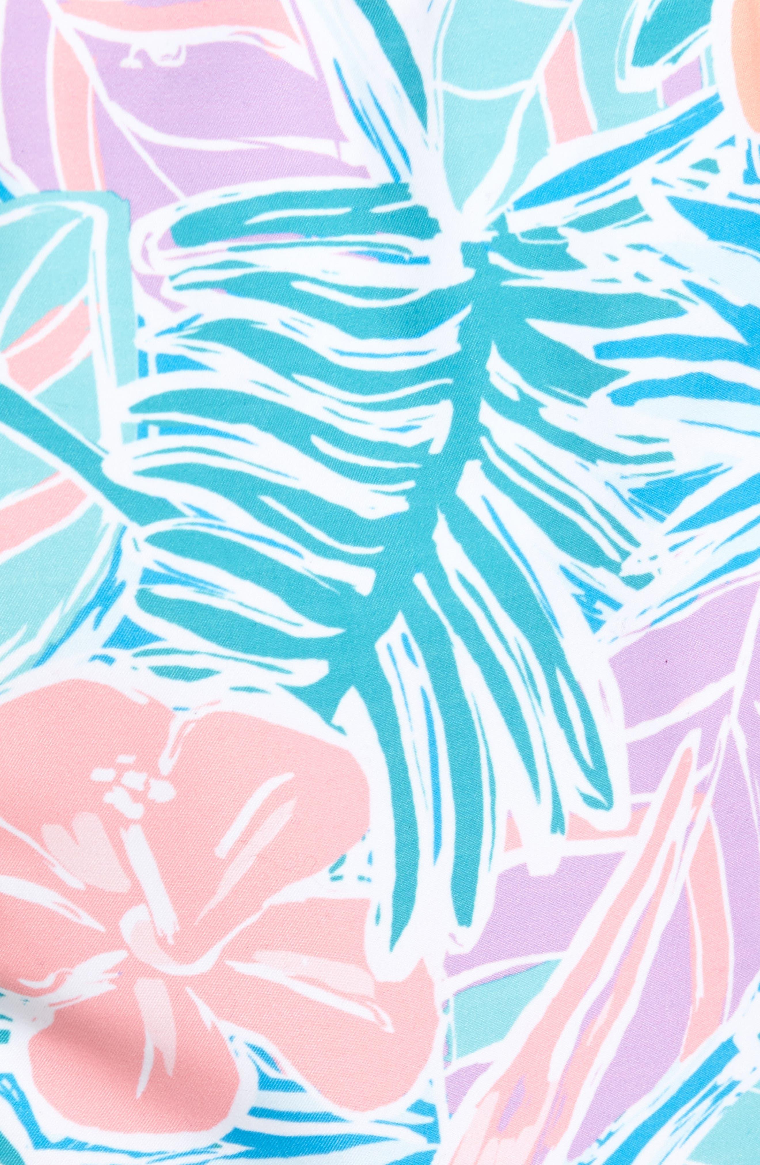 Chappy Gulf Tropical Print Swim Trunks,                             Alternate thumbnail 5, color,                             400