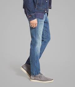 Straight-leg jeans for men.