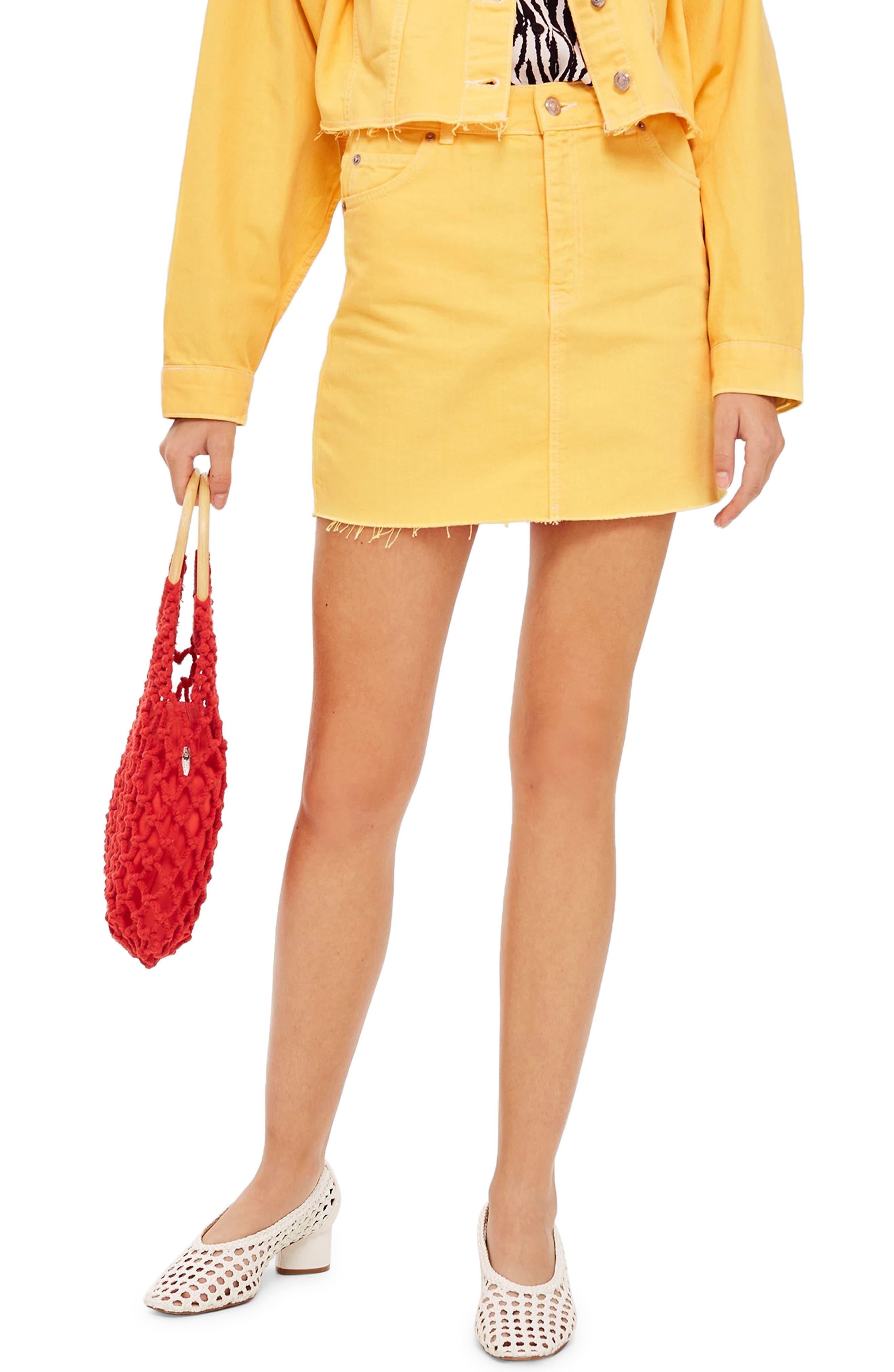 MOTO High Waist Denim Skirt,                         Main,                         color, YELLOW