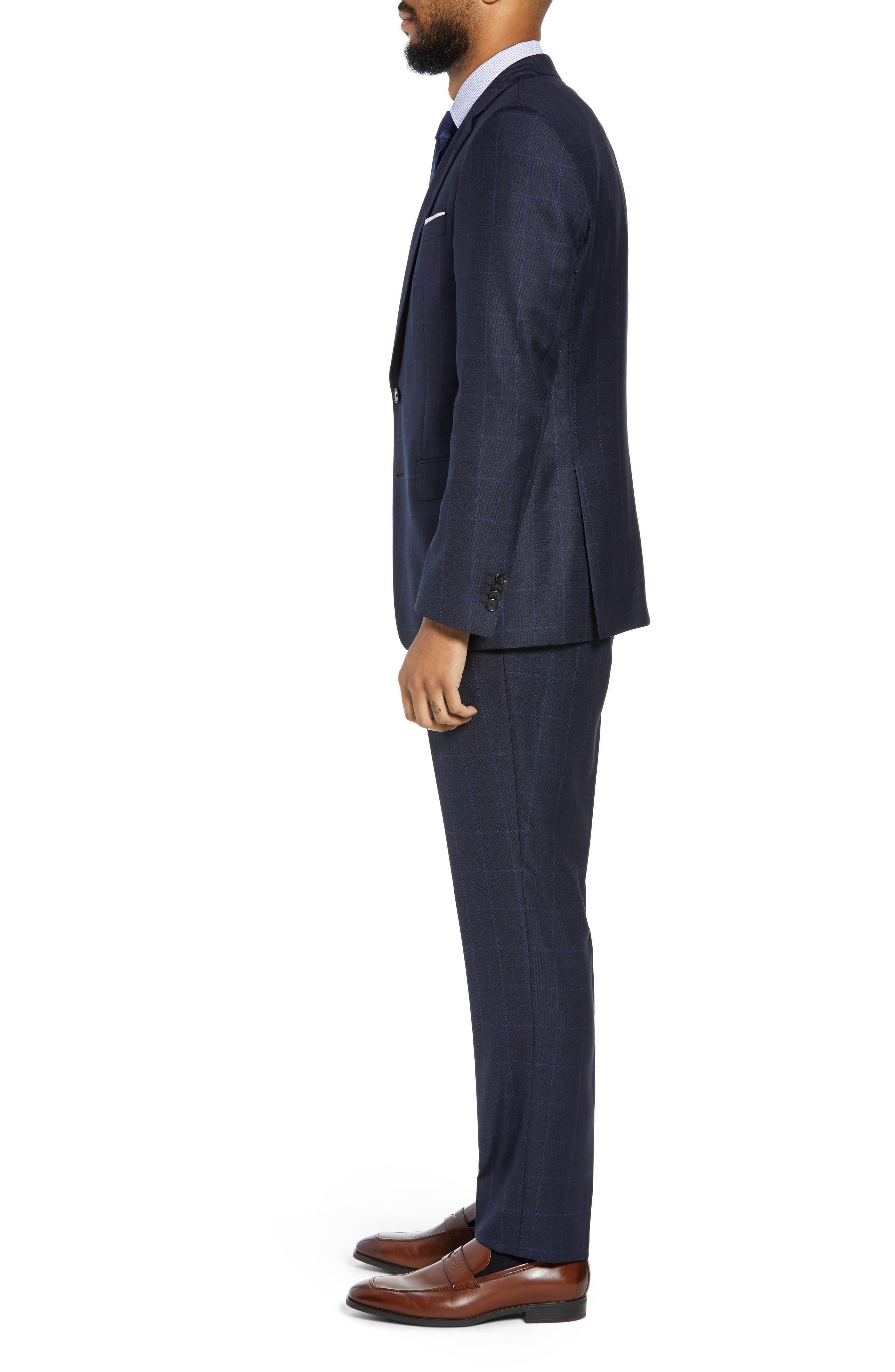 Huge/Genius Trim Fit Windowpane Wool Three-Piece Suit,                             Alternate thumbnail 3, color,                             480