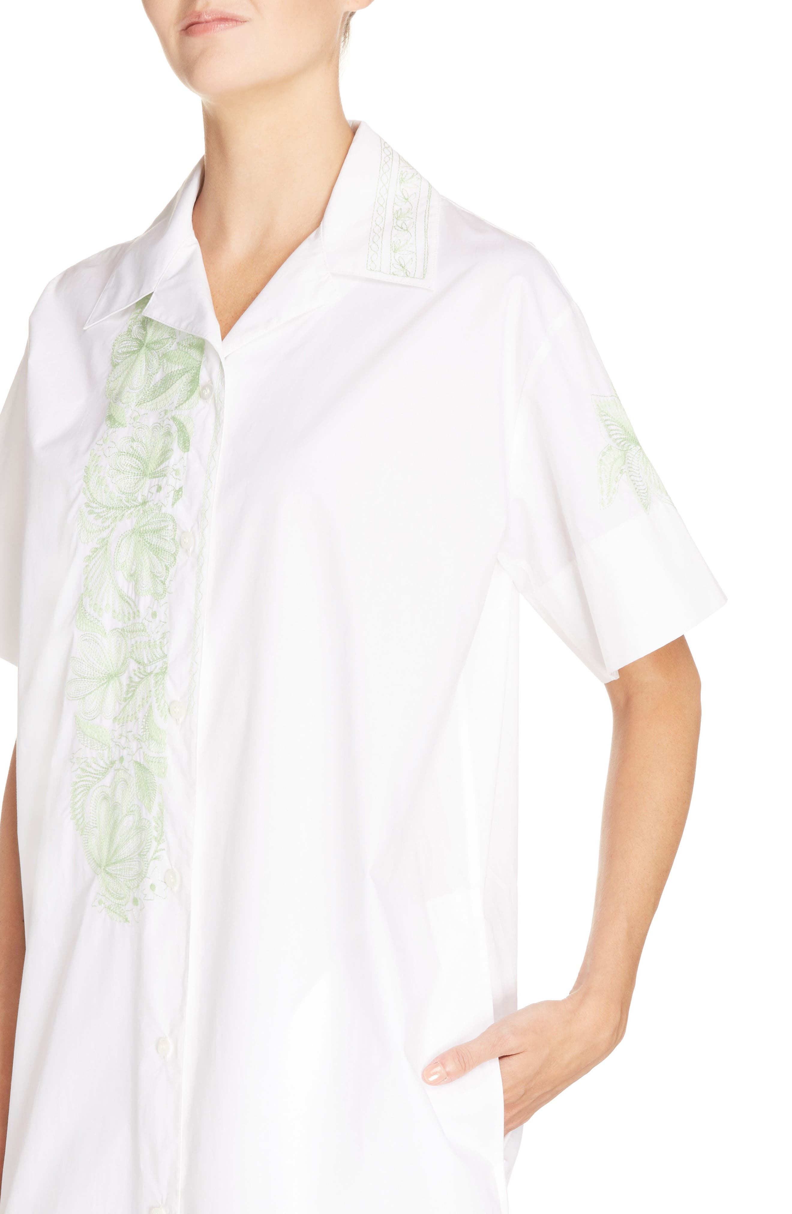 Jusso Embroidered Shirtdress,                             Alternate thumbnail 4, color,                             100