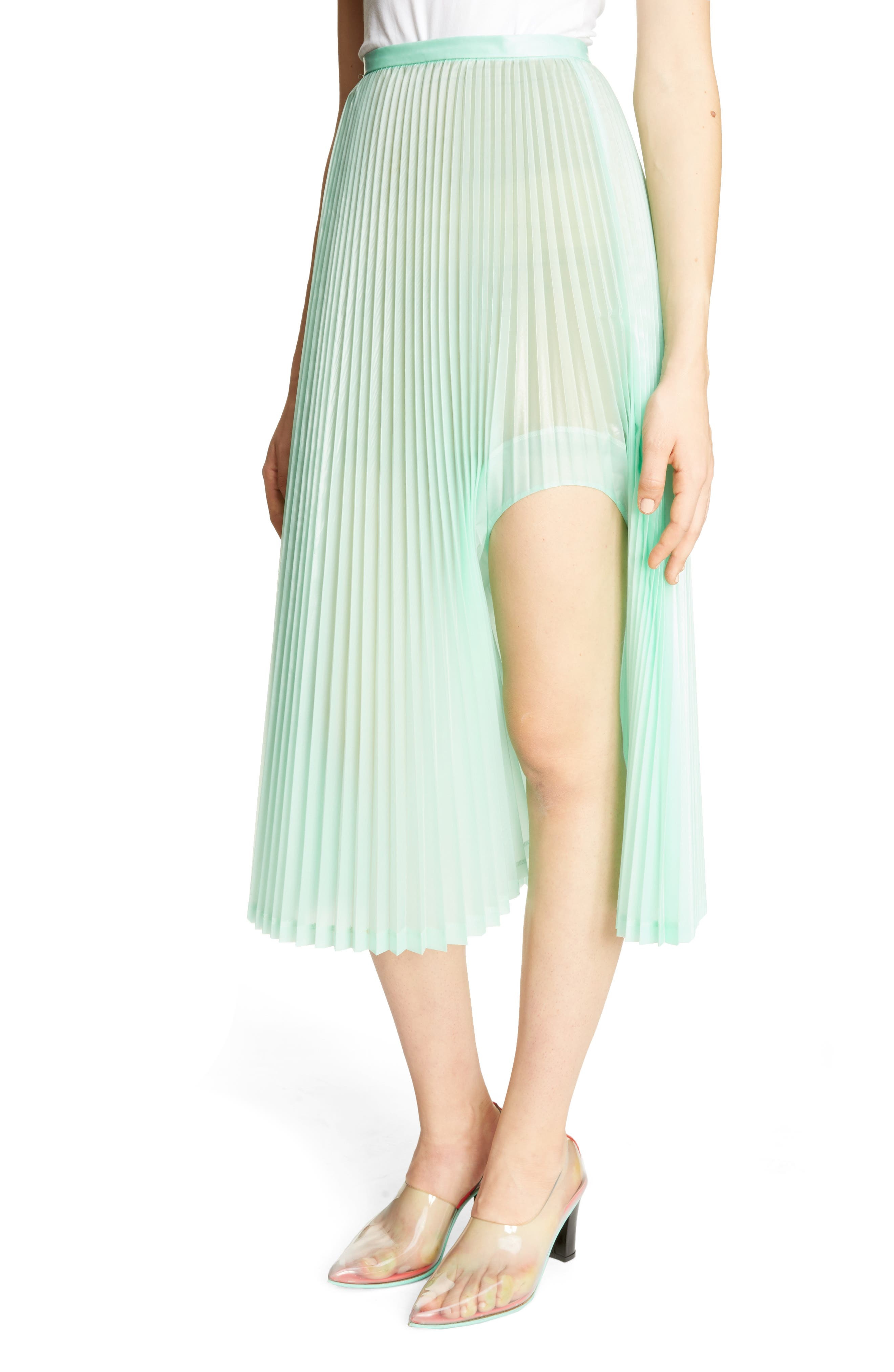 Pleated Keyhole Skirt,                             Alternate thumbnail 4, color,