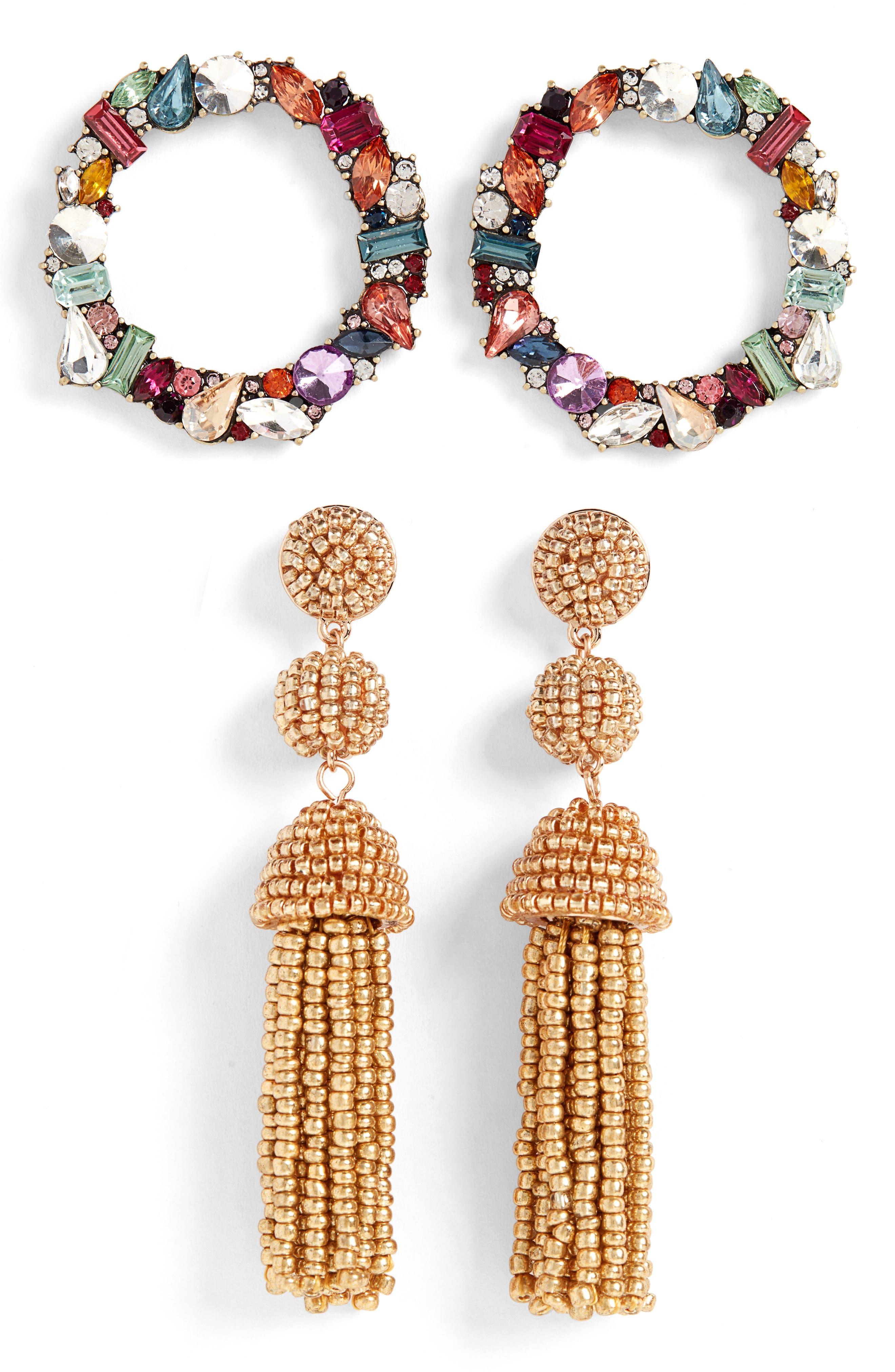2-Pack Tassel & Hoop Earrings,                             Main thumbnail 1, color,                             MULTI