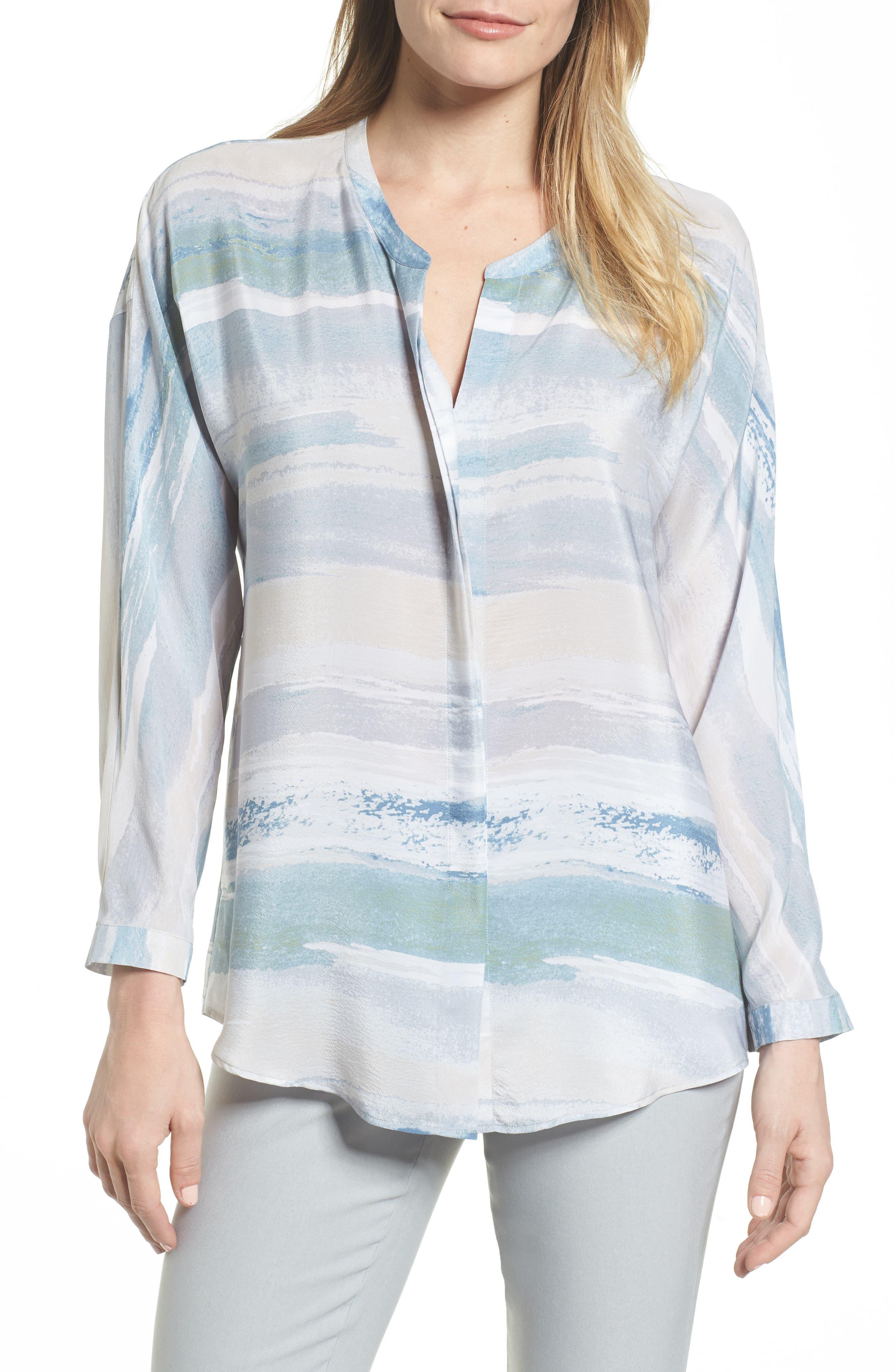 Watercolor Silk Blend Top,                         Main,                         color,