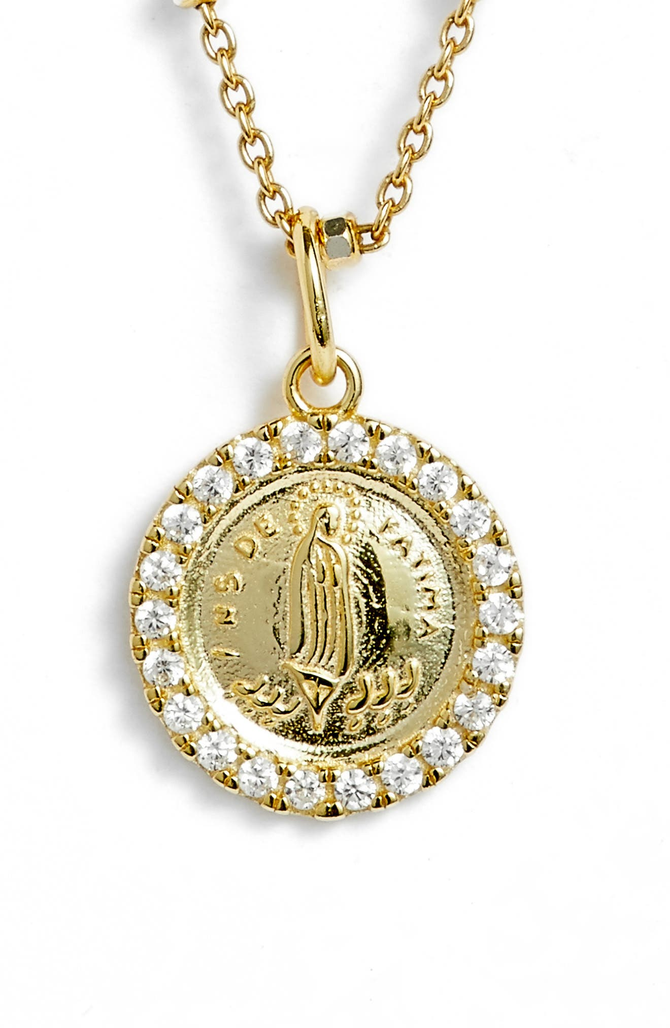 Pavé Framed Mother Mary Pendant Necklace,                             Main thumbnail 2, color,