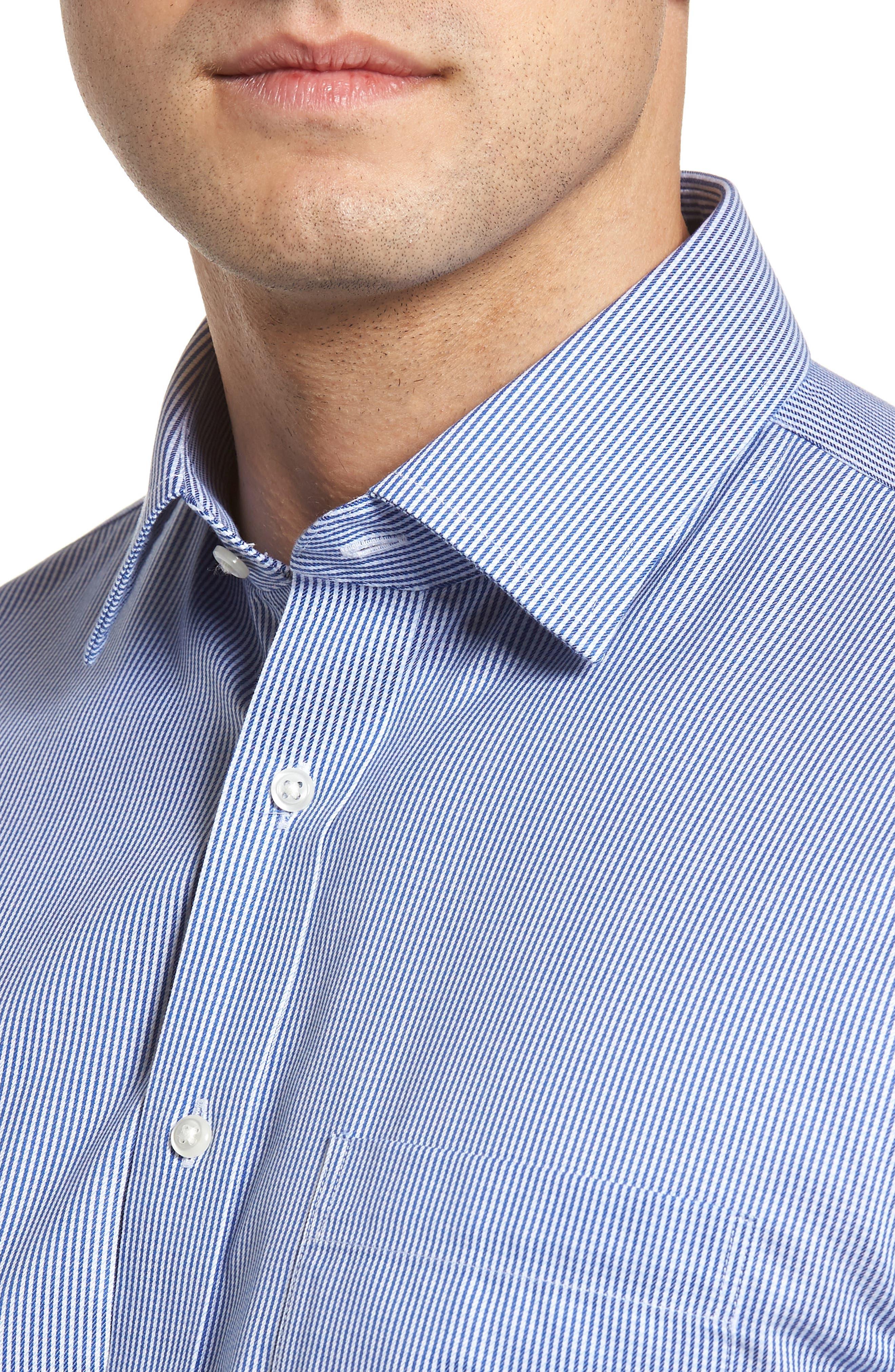 Smartcare<sup>™</sup> Traditional Fit Stripe Dress Shirt,                             Alternate thumbnail 5, color,
