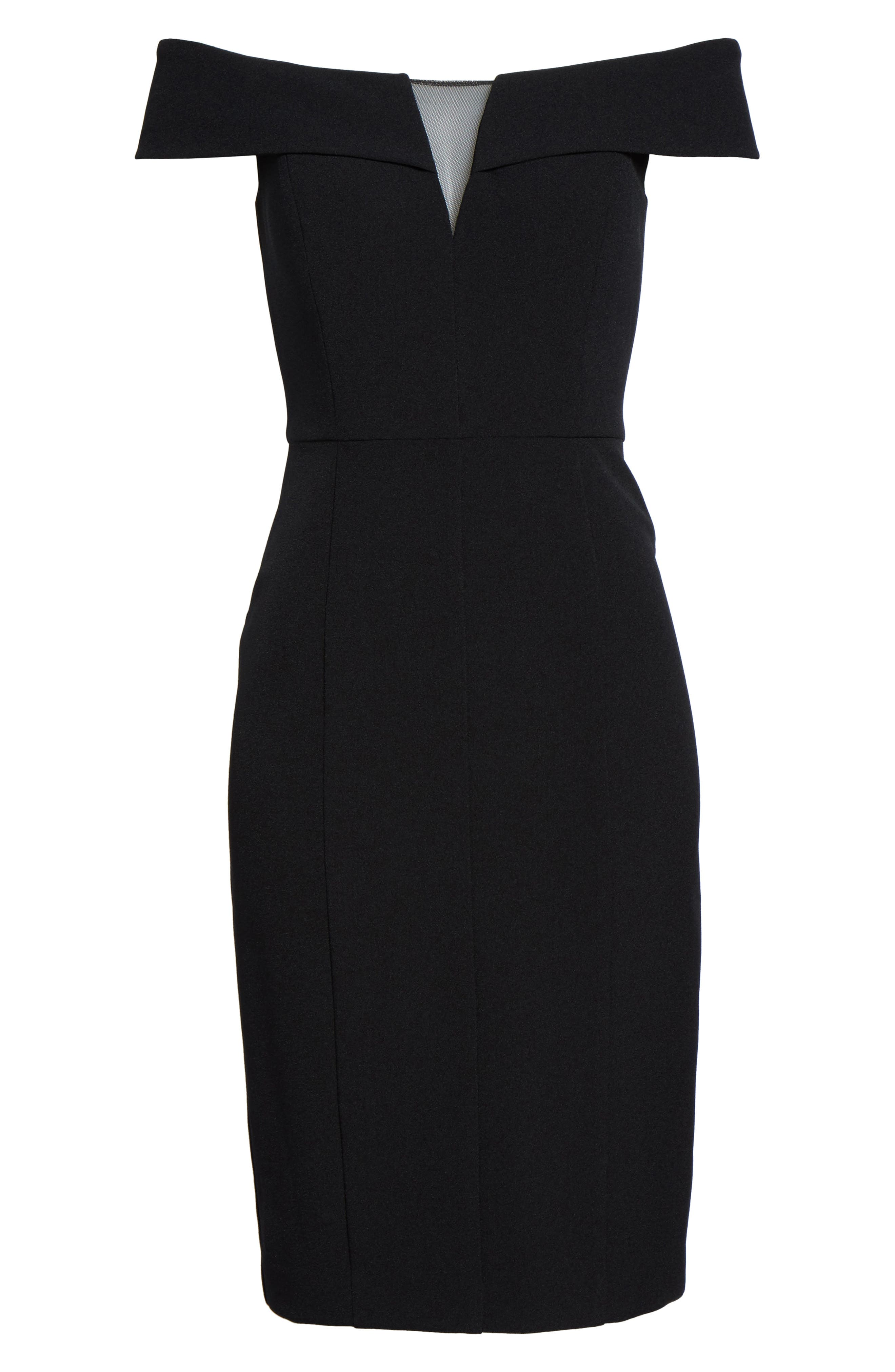 Off the Shoulder Crepe Sheath Dress,                             Alternate thumbnail 6, color,