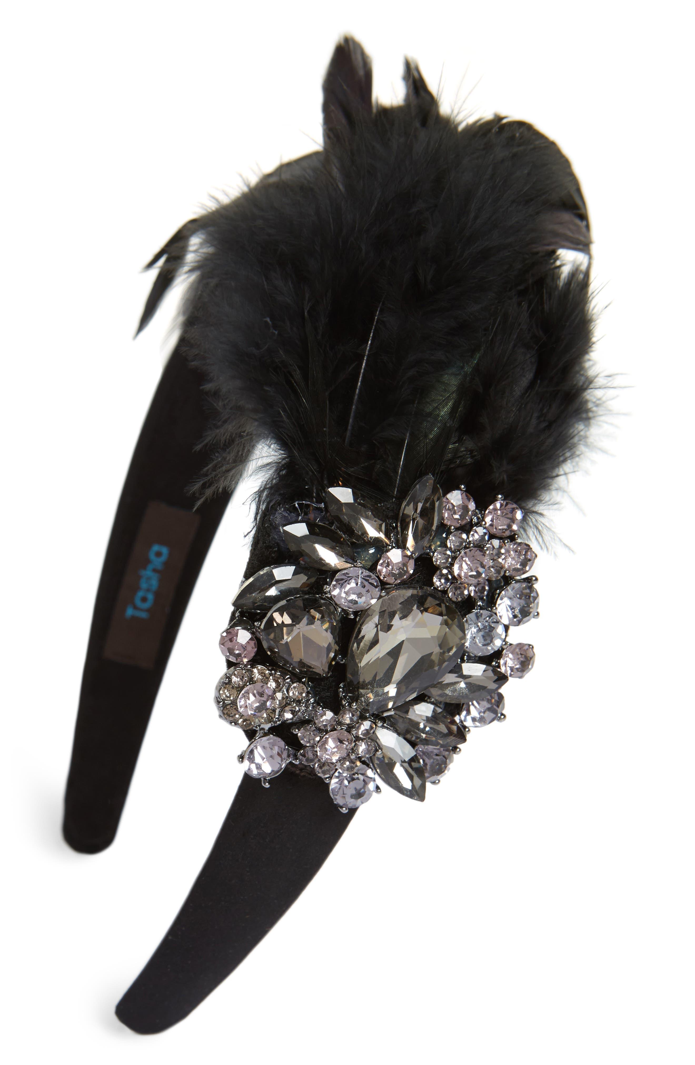 Crystal Feather Headband,                         Main,                         color, 001