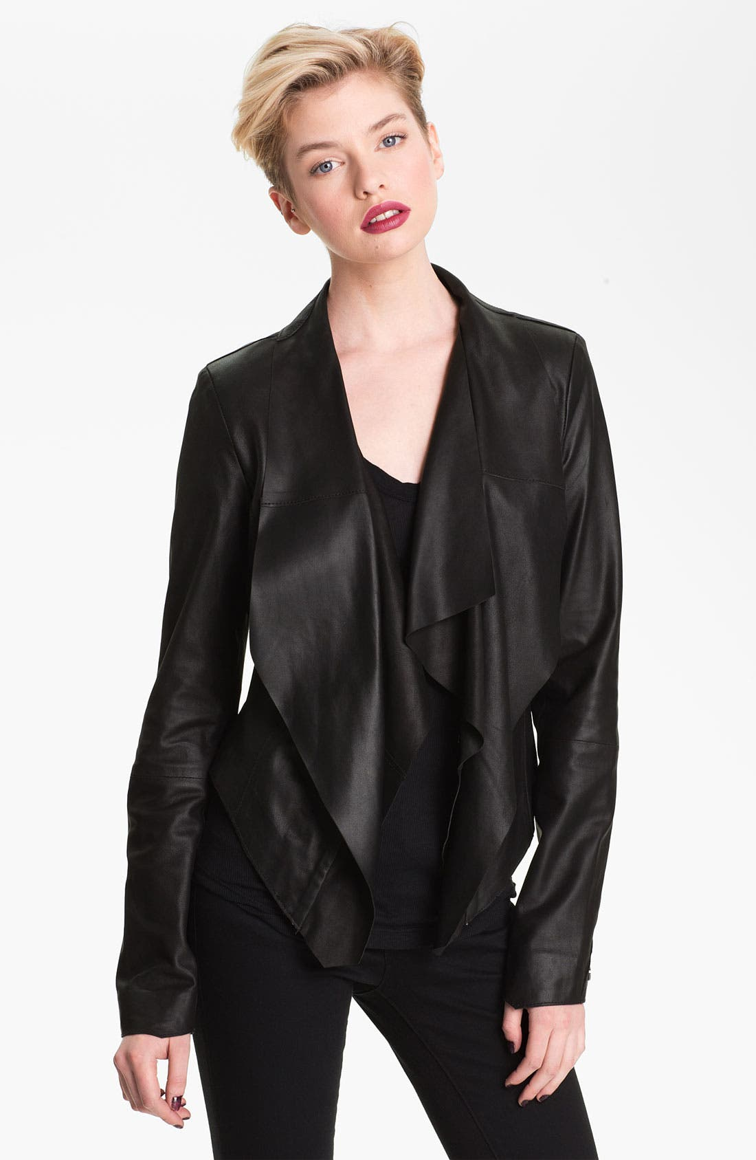 Drape Collar Leather Jacket,                             Main thumbnail 1, color,                             001