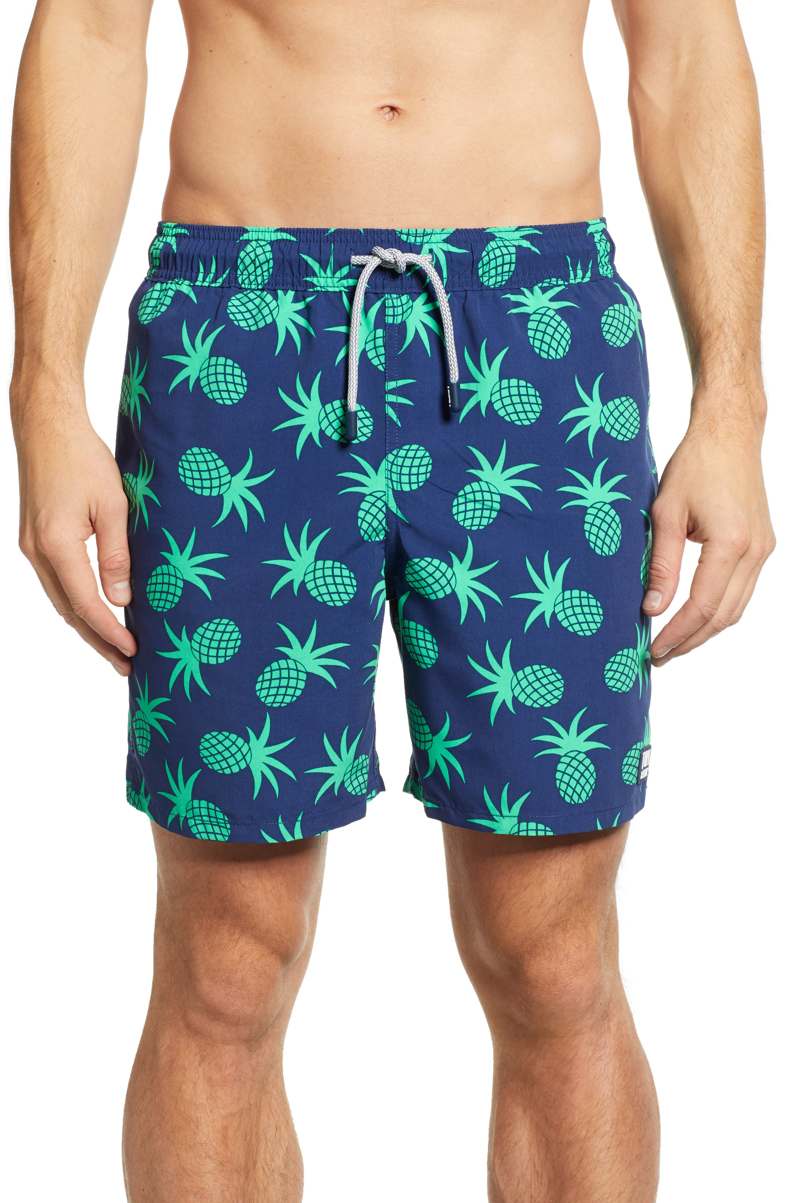 TOM & TEDDY Pineapple Print Swim Trunks in Irish Green