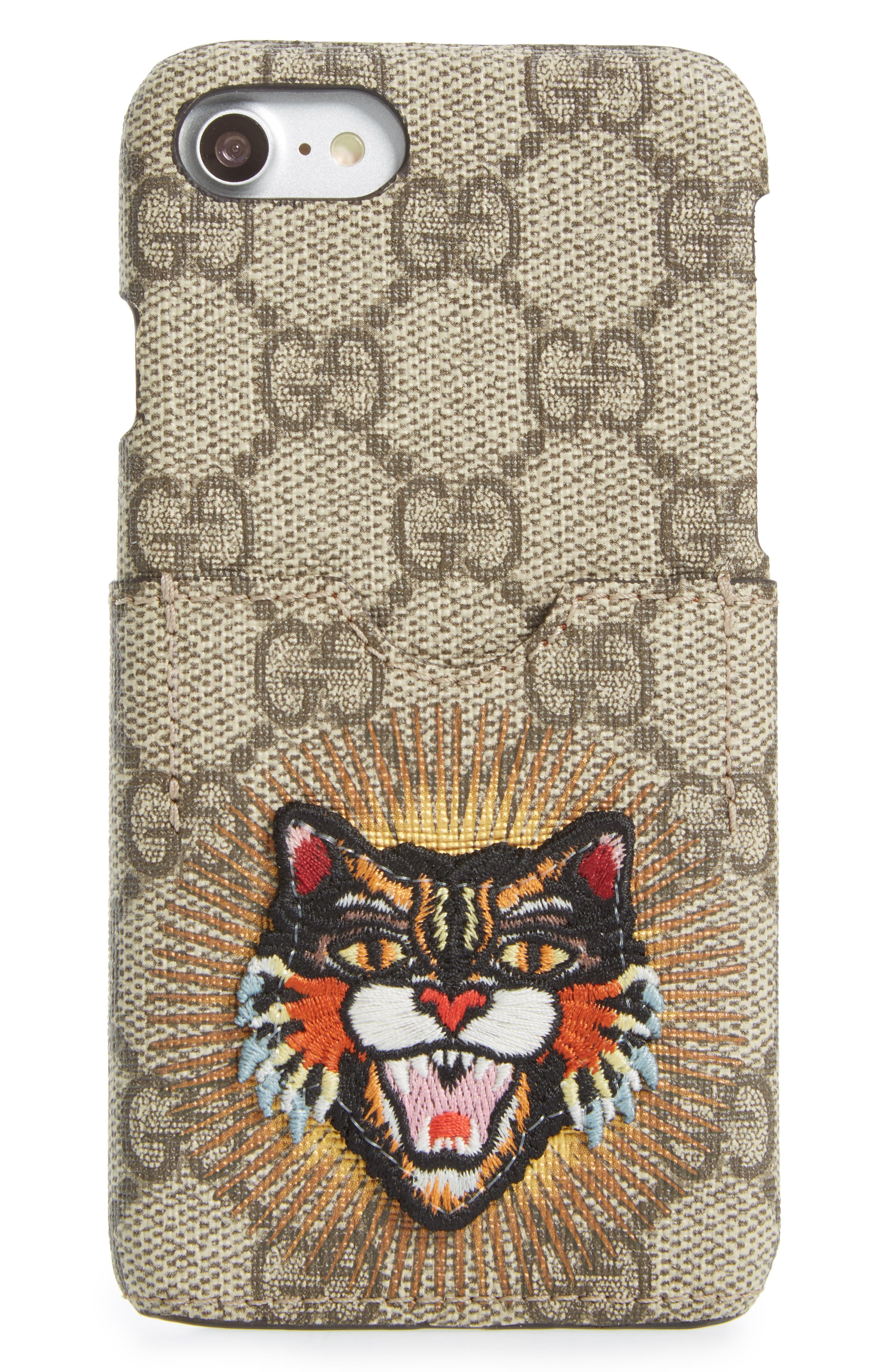 Embroidered Angry Cat GG Supreme iPhone 7 Case,                             Alternate thumbnail 2, color,                             250